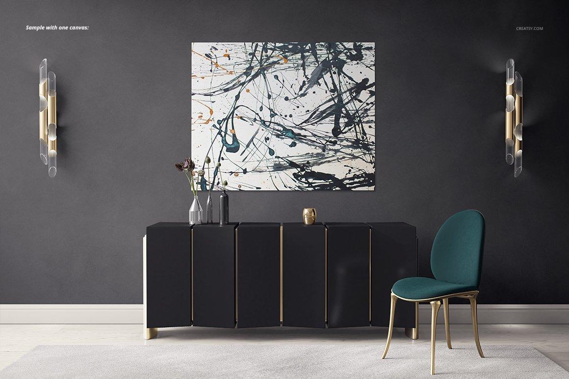 豪华室内装饰画设计展示贴图样机模板 Luxury Console Canvas Print Mockup插图4