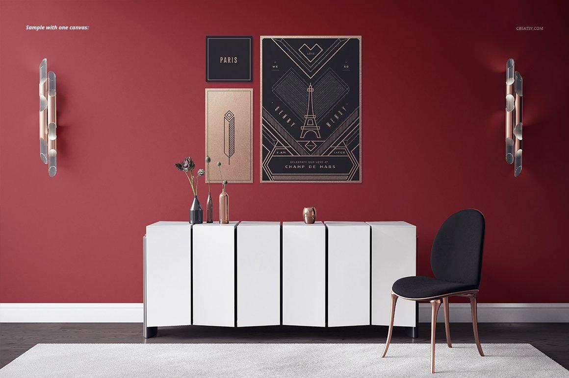 豪华室内装饰画设计展示贴图样机模板 Luxury Console Canvas Print Mockup插图5