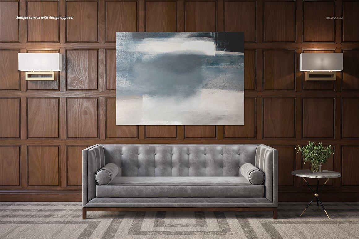 时尚房间室内海报艺术品设计展示贴图样机 Stylish Room Canvas Print Mockup插图5