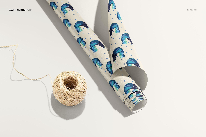 33款时尚礼品包装纸印花图案设计展示贴图样机合集 Gift Wrapping Paper Mockup Bundle插图9