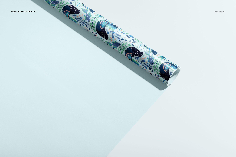 33款时尚礼品包装纸印花图案设计展示贴图样机合集 Gift Wrapping Paper Mockup Bundle插图15