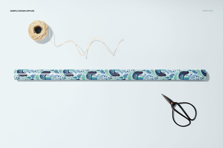 33款时尚礼品包装纸印花图案设计展示贴图样机合集 Gift Wrapping Paper Mockup Bundle插图31