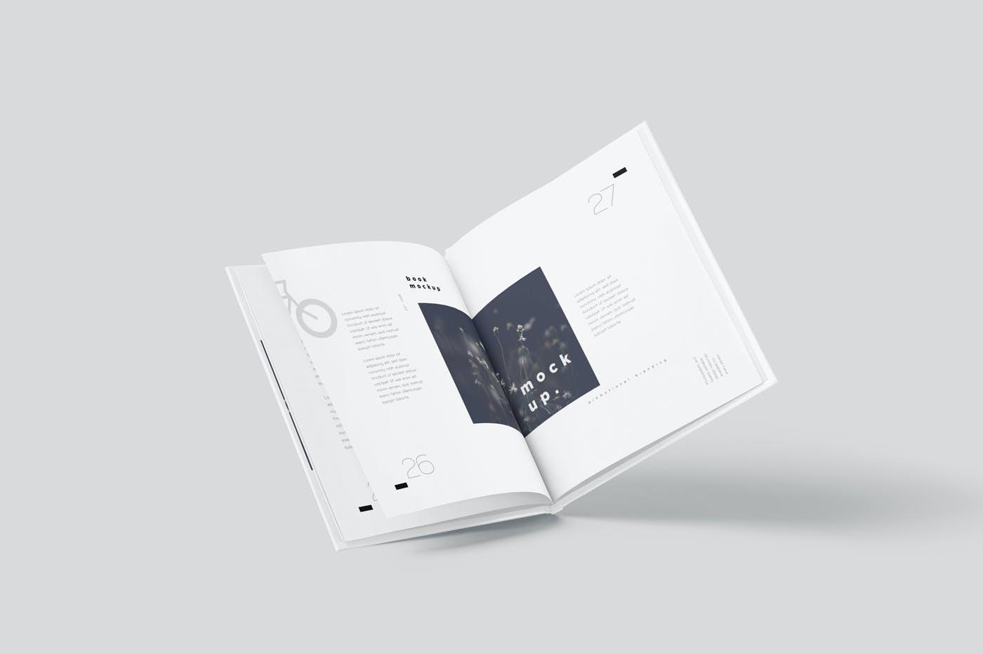 6款悬浮精装书画册设计展示贴图样机模板 Floating Hardcover Book Mockups插图5