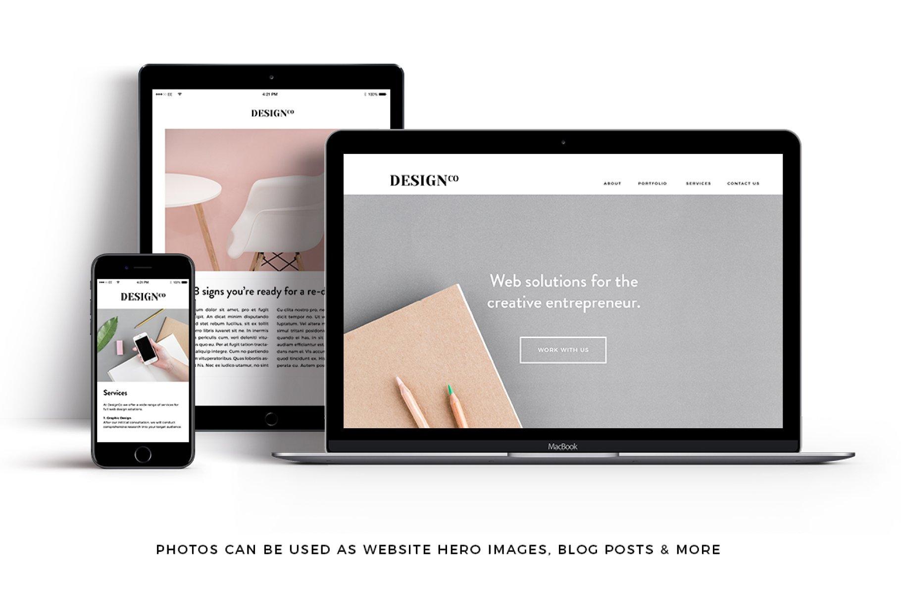 粉色柔和自适应网站界面设计苹果设备屏幕演示样机 Pink & Botanical Stock Photo Bundle插图5