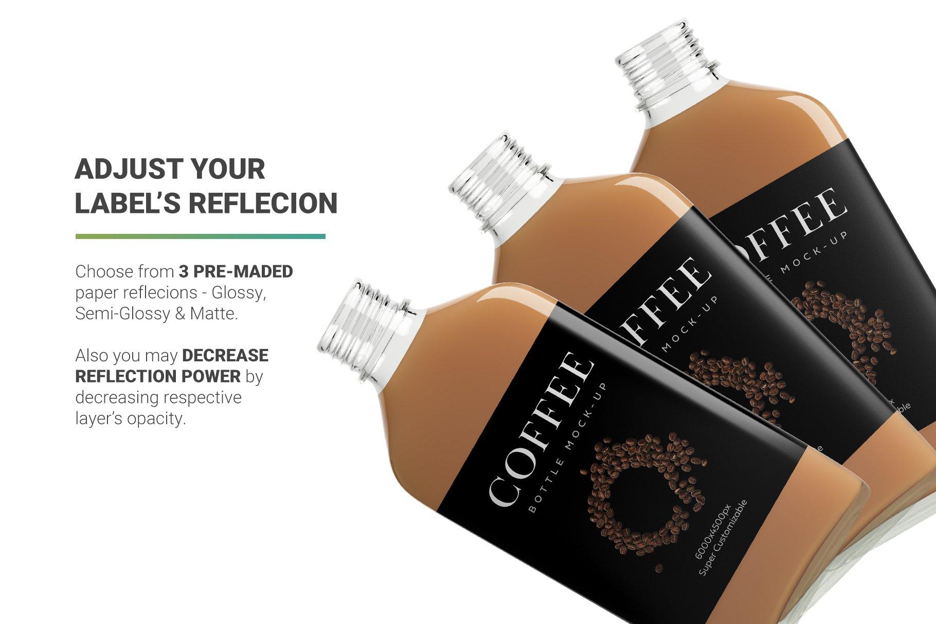 冷冲泡咖啡玻璃瓶标签设计展示贴图样机 Coffee Bottle Mockup插图6
