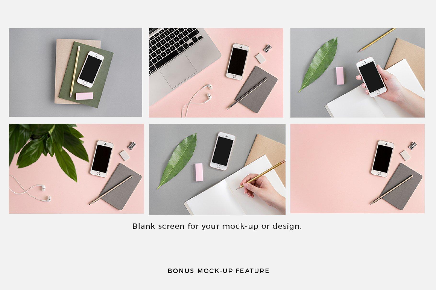 粉色柔和自适应网站界面设计苹果设备屏幕演示样机 Pink & Botanical Stock Photo Bundle插图7