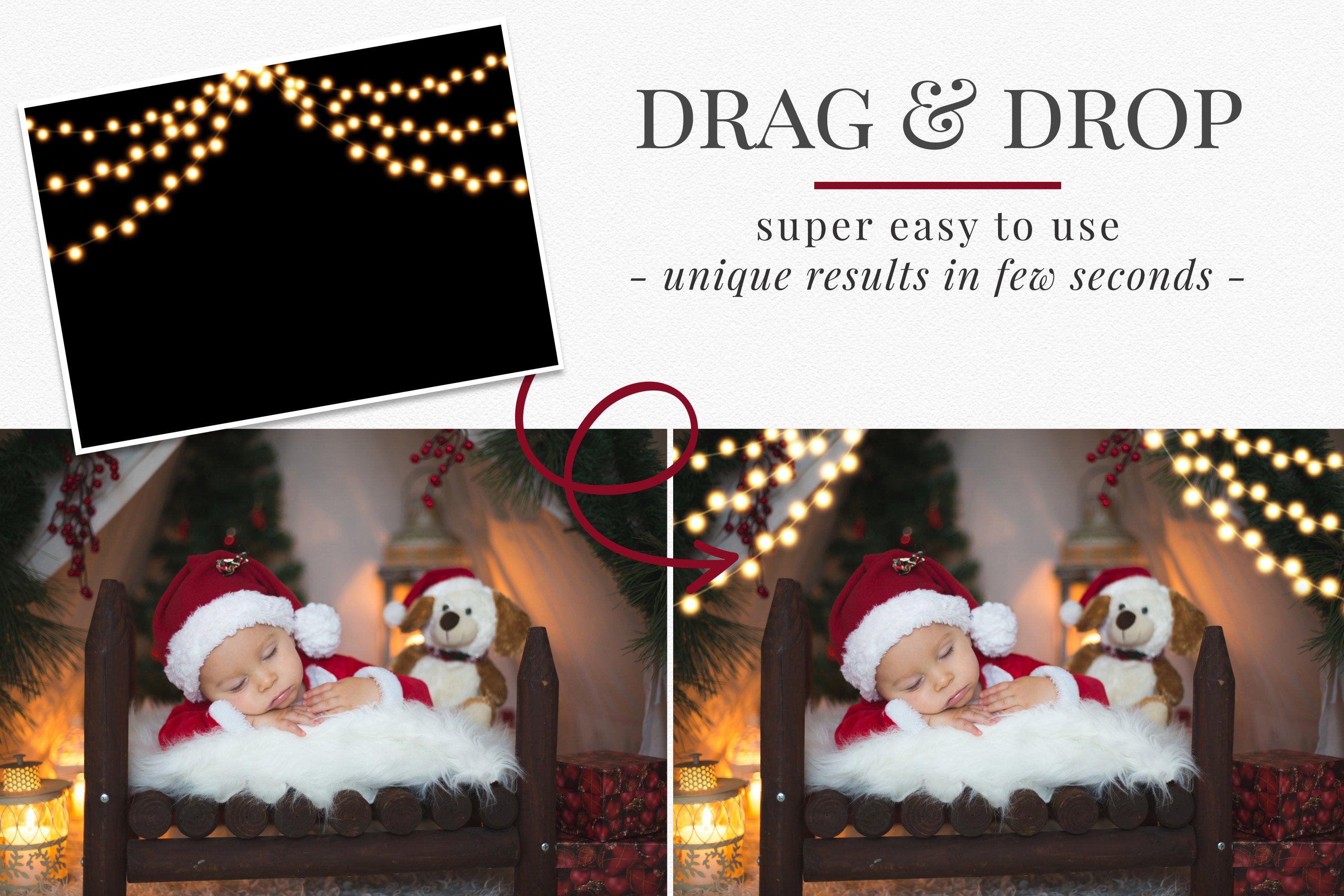 圣诞节主题金色发光星星花环叠加层图片设计素材 Christmas Garlands Photo Overlays插图1