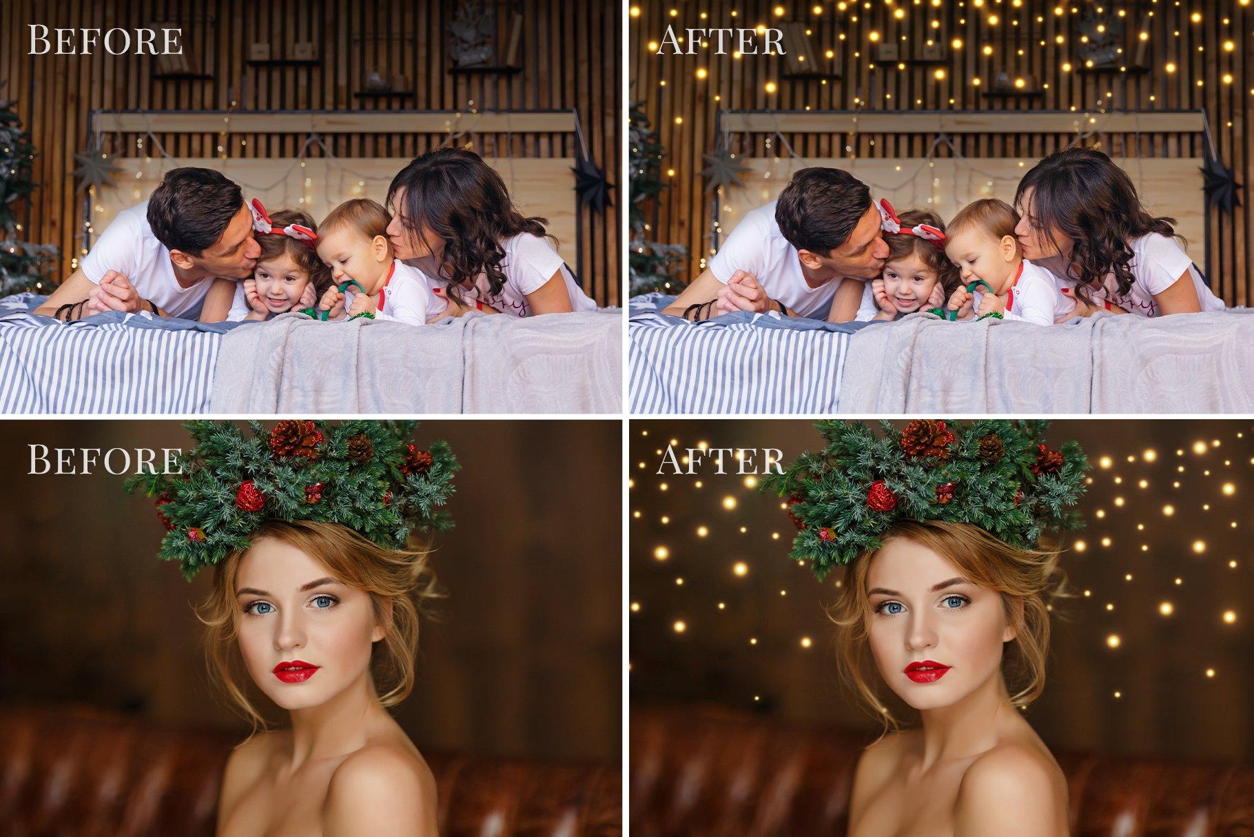 圣诞节主题金色发光星星花环叠加层图片设计素材 Christmas Garlands Photo Overlays插图3