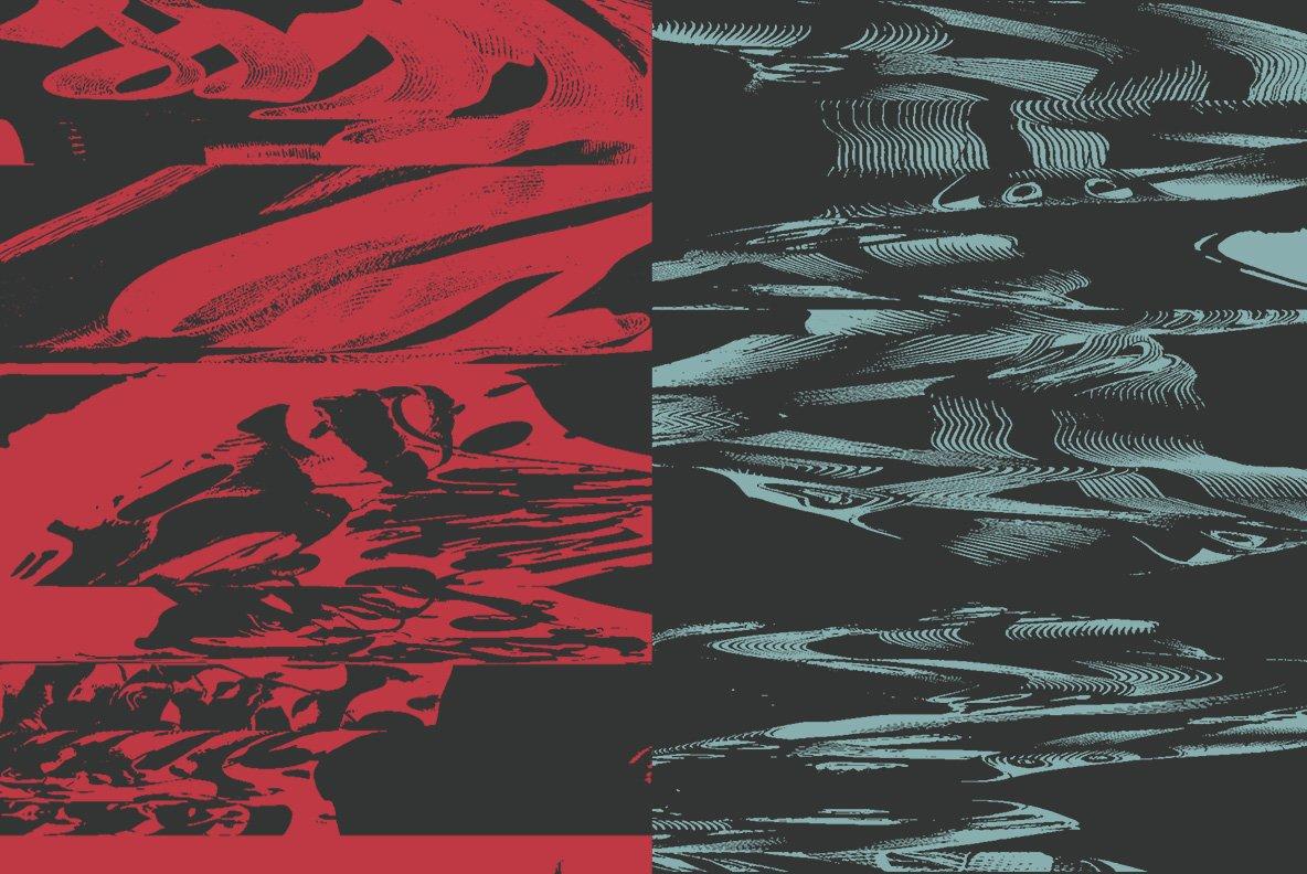 16款抽象扭曲故障失真背景纹理矢量设计素材 Rulebyart – Abstract Vectors插图1