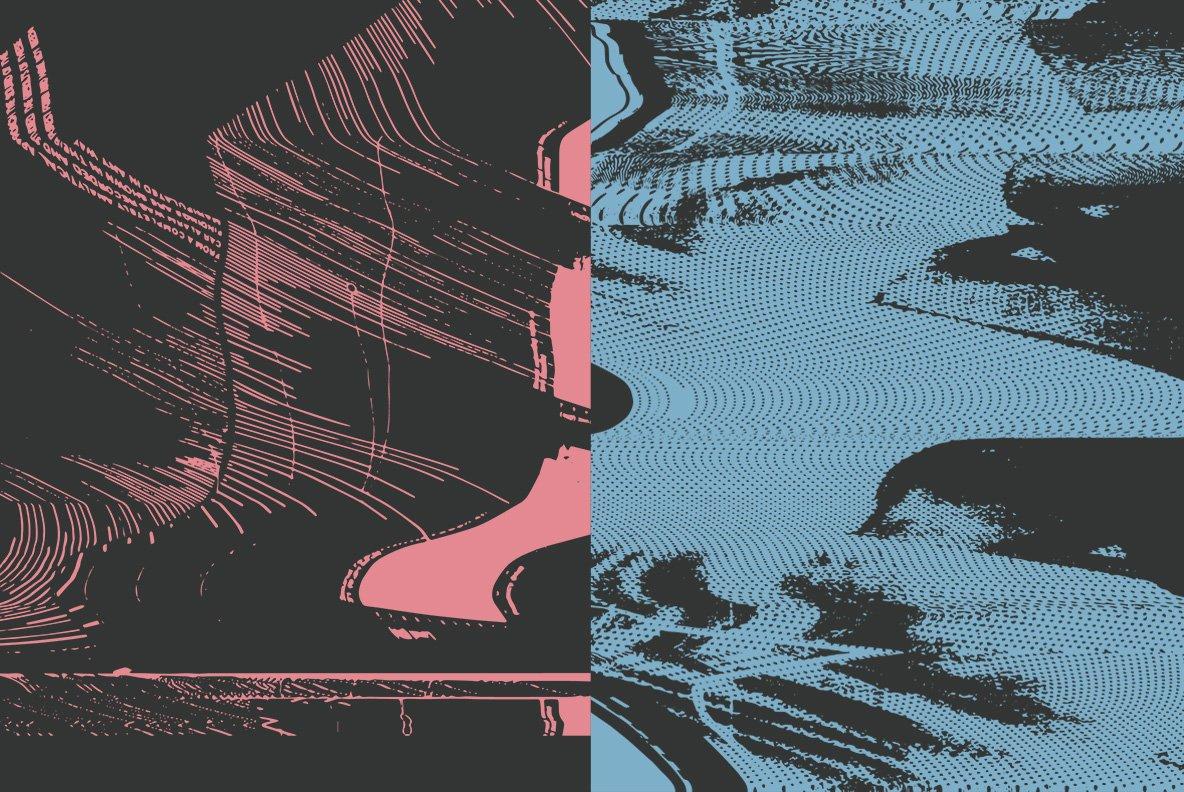 16款抽象扭曲故障失真背景纹理矢量设计素材 Rulebyart – Abstract Vectors插图2