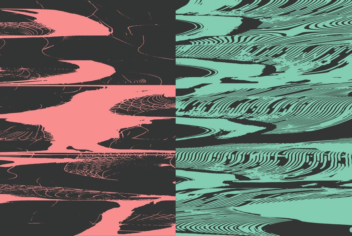 16款抽象扭曲故障失真背景纹理矢量设计素材 Rulebyart – Abstract Vectors插图3