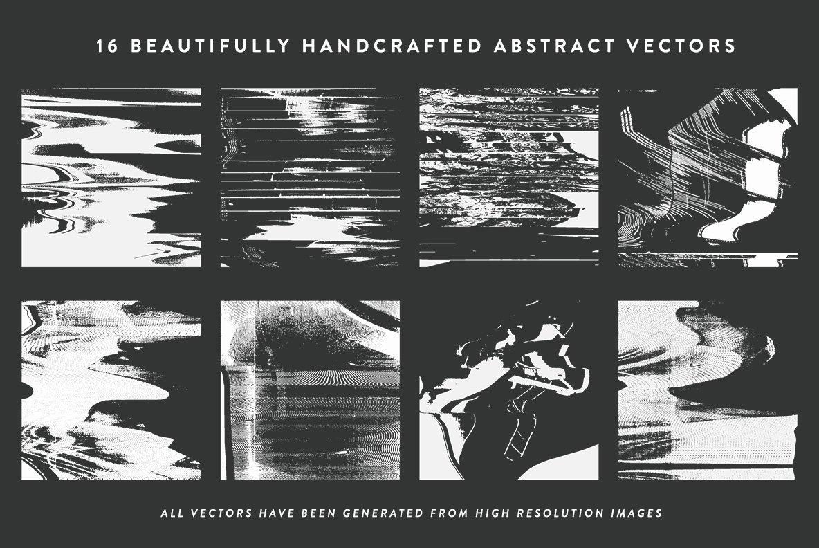 16款抽象扭曲故障失真背景纹理矢量设计素材 Rulebyart – Abstract Vectors插图5
