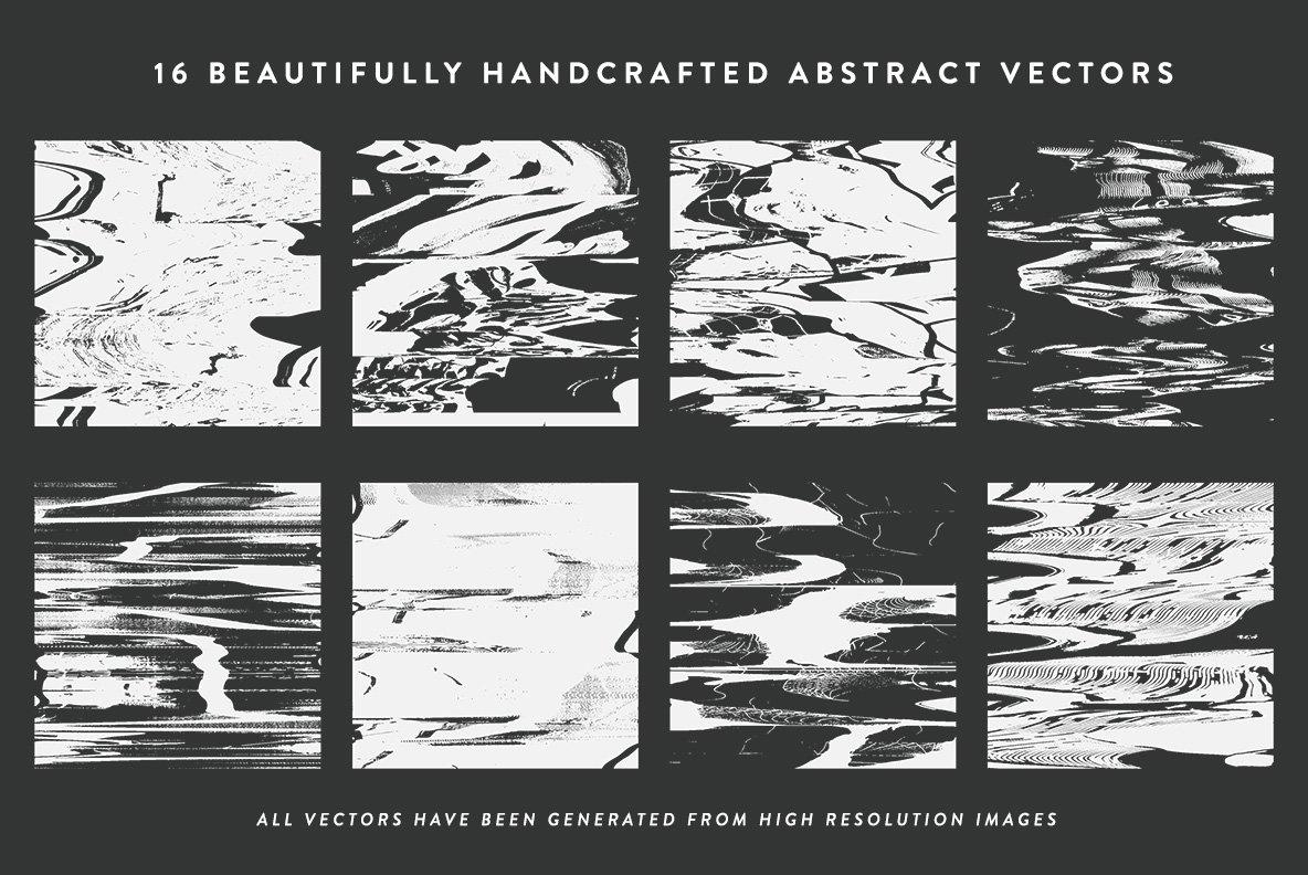 16款抽象扭曲故障失真背景纹理矢量设计素材 Rulebyart – Abstract Vectors插图6