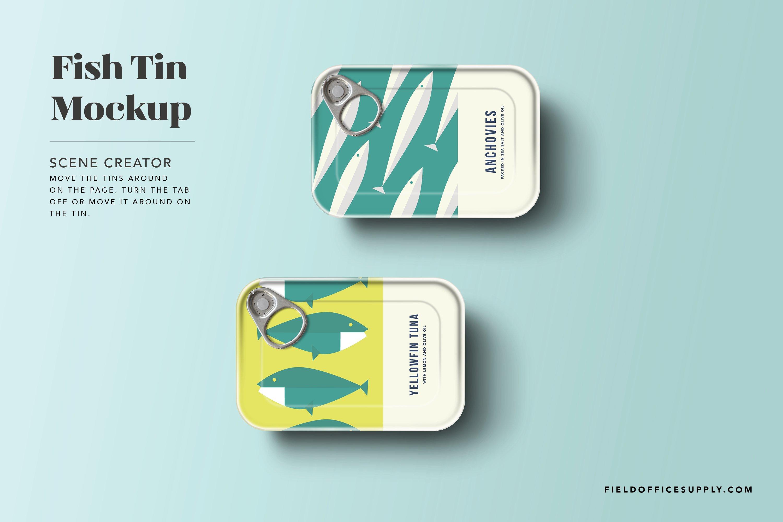 简洁鱼罐头锡罐设计展示贴图样机模板 Sardine Tin Mockup插图1