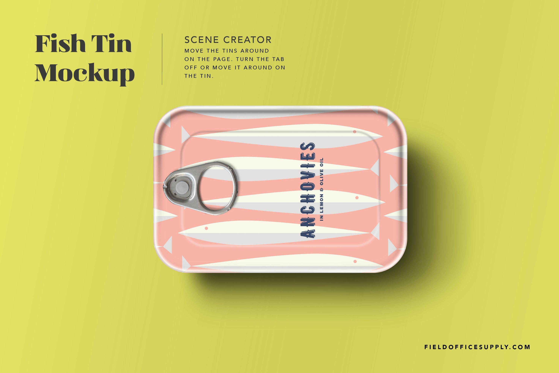 简洁鱼罐头锡罐设计展示贴图样机模板 Sardine Tin Mockup插图2