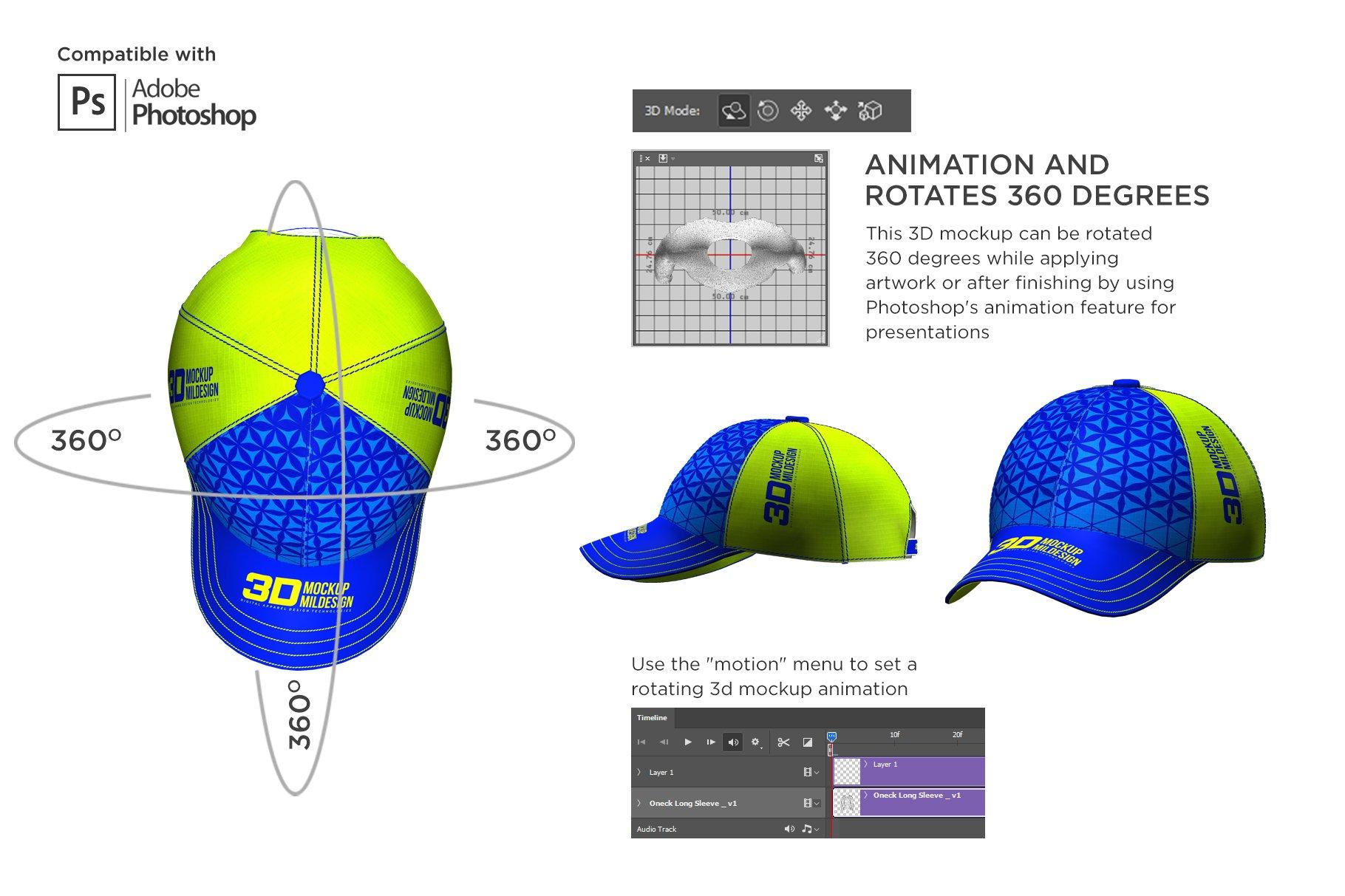 3D半球帽印花图案设计展示贴图样机模板 3D Baseball Cap Mockup插图3
