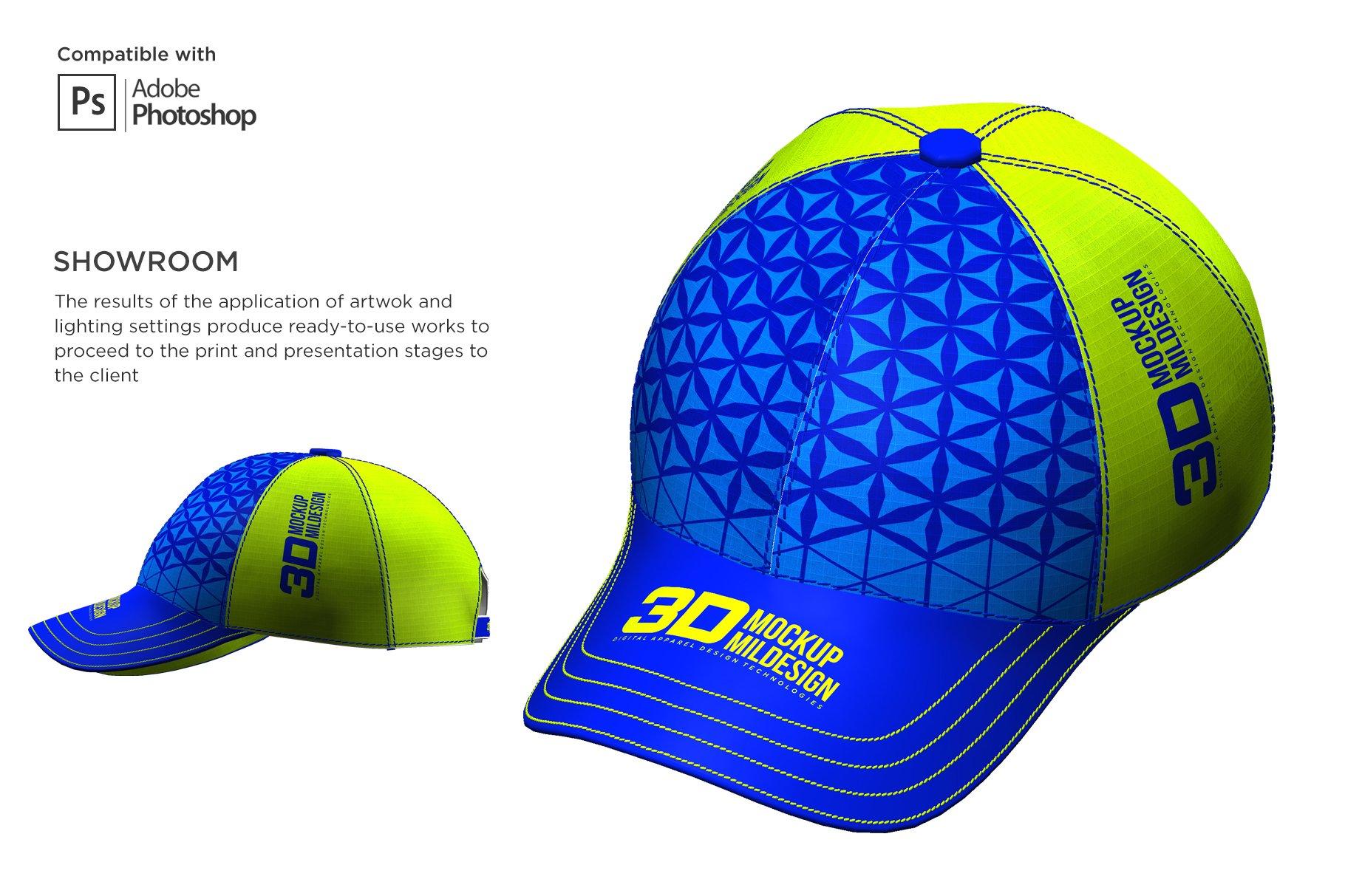 3D半球帽印花图案设计展示贴图样机模板 3D Baseball Cap Mockup插图5