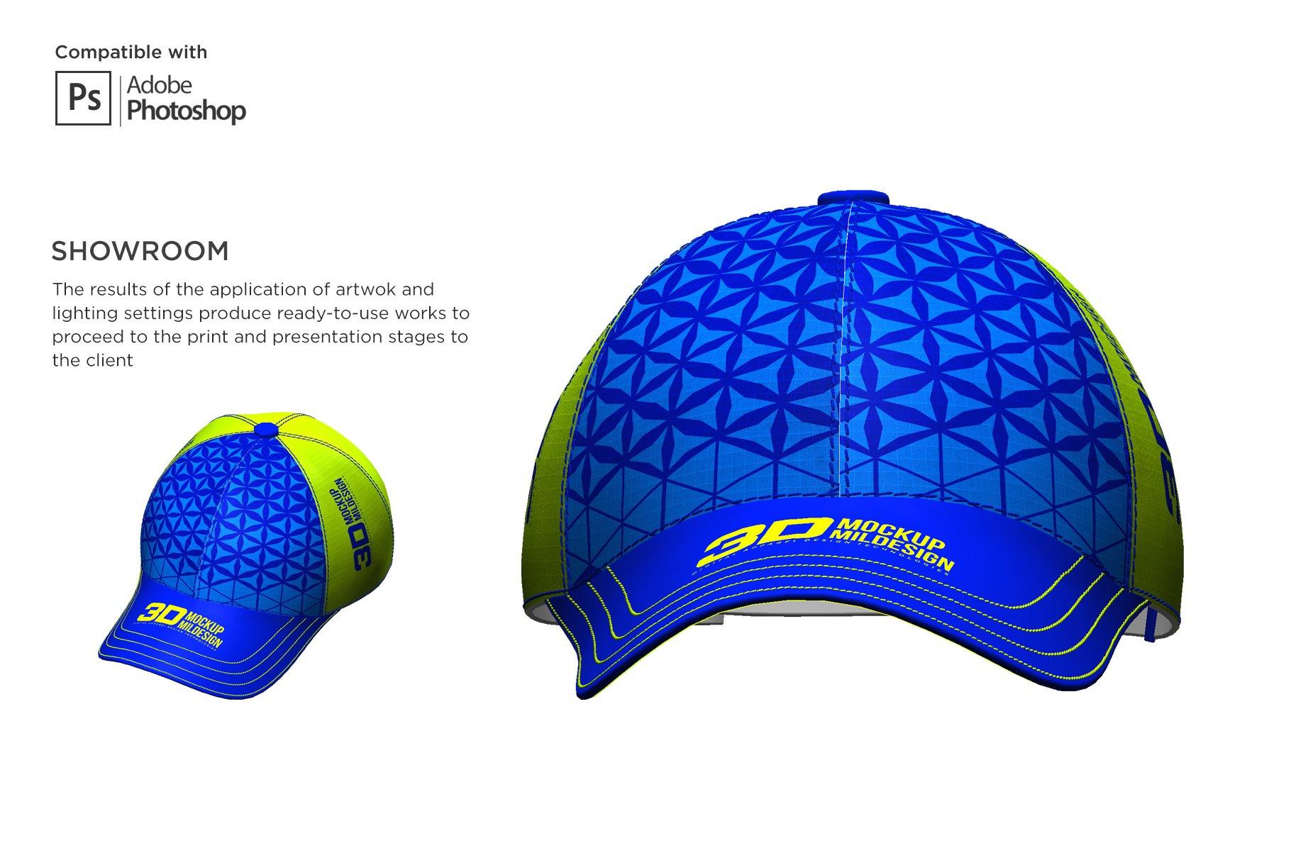3D半球帽印花图案设计展示贴图样机模板 3D Baseball Cap Mockup插图7