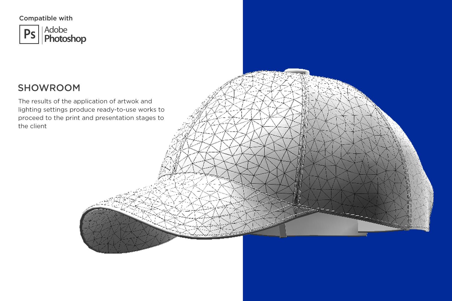3D半球帽印花图案设计展示贴图样机模板 3D Baseball Cap Mockup插图8