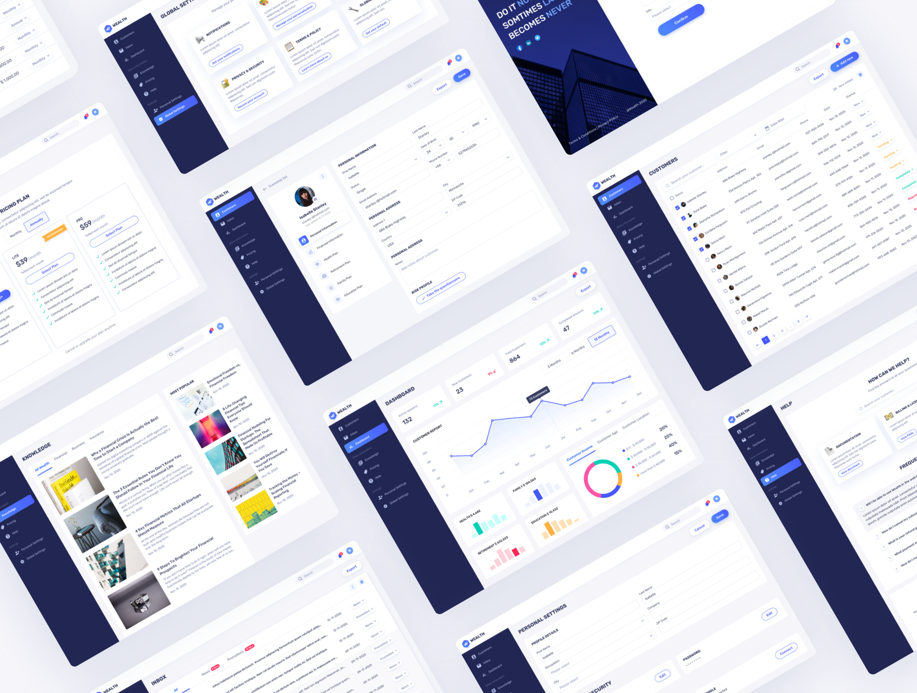 财务记账理财网站WEB界面设计UI套件素材 Wealth – Financial Web UI Kit插图1