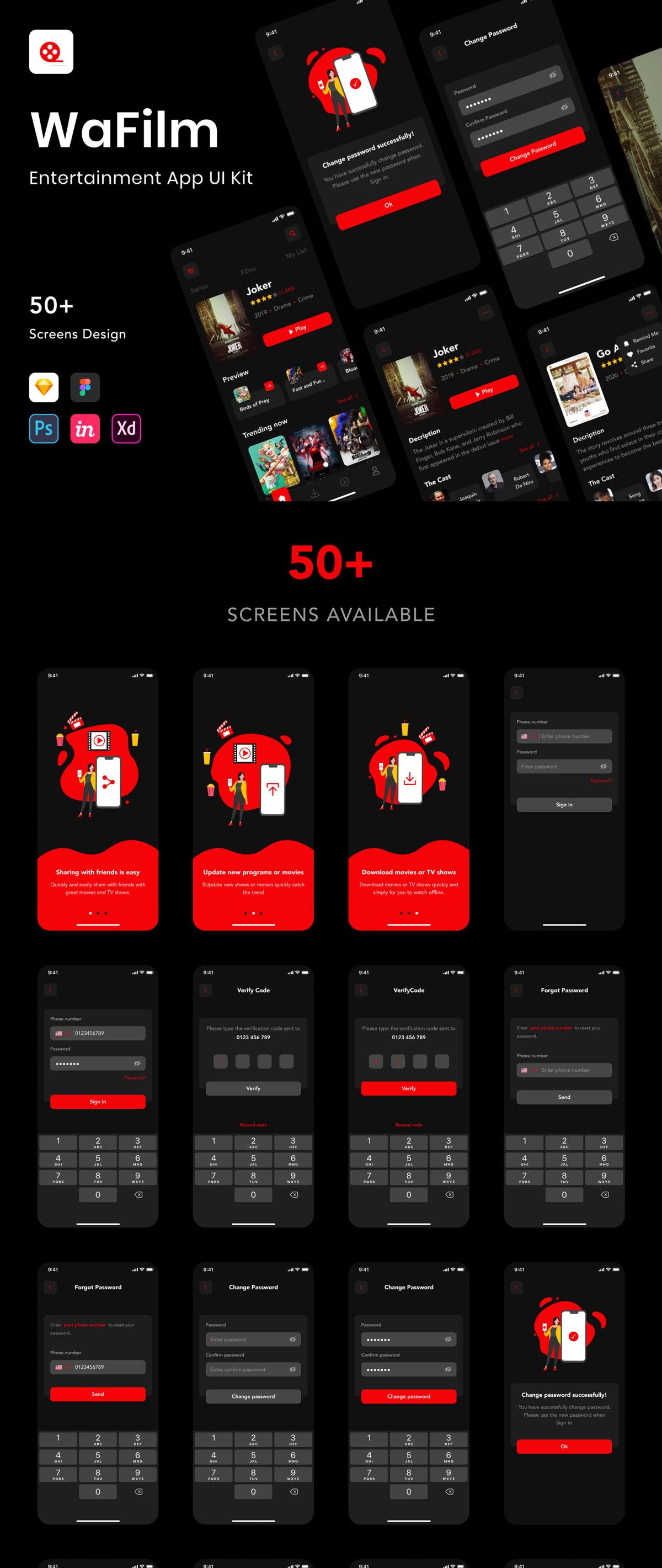 现代暗黑色电影视频娱乐APP应用程序界面设计UI套件 WaFilm – Entertainment App UI Kit插图