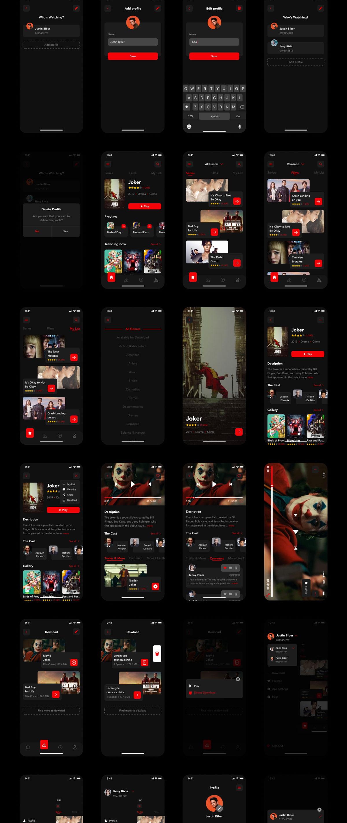 现代暗黑色电影视频娱乐APP应用程序界面设计UI套件 WaFilm – Entertainment App UI Kit插图1