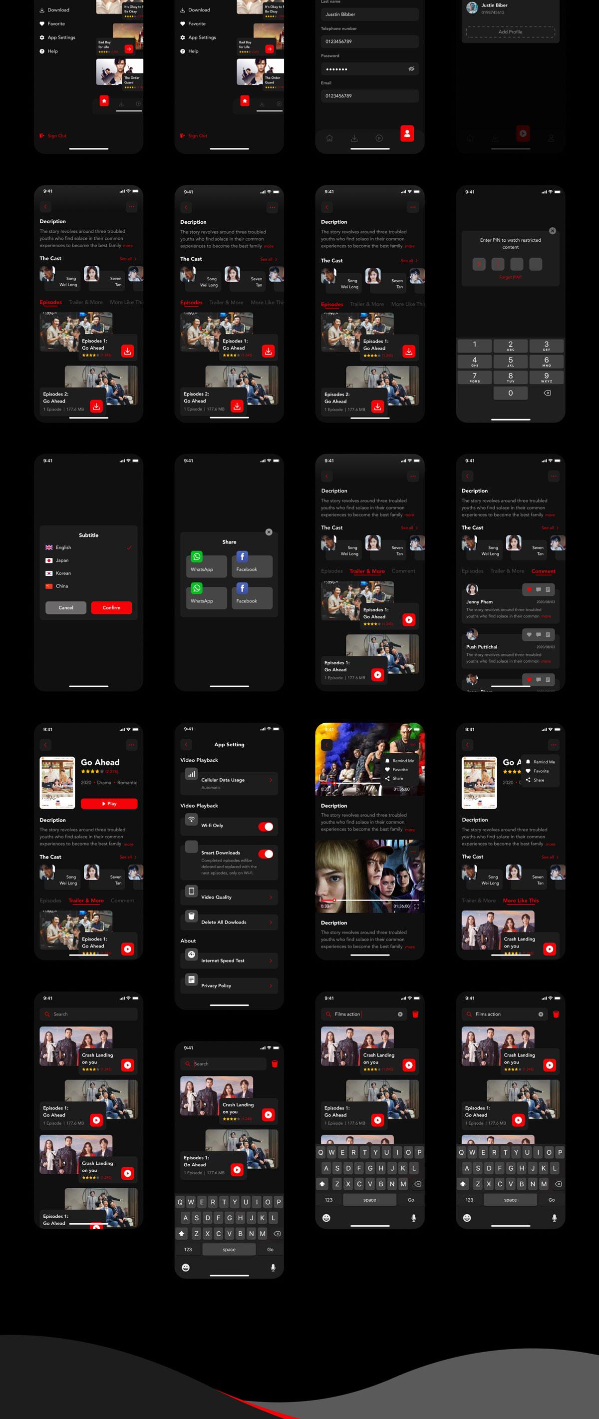 现代暗黑色电影视频娱乐APP应用程序界面设计UI套件 WaFilm – Entertainment App UI Kit插图2