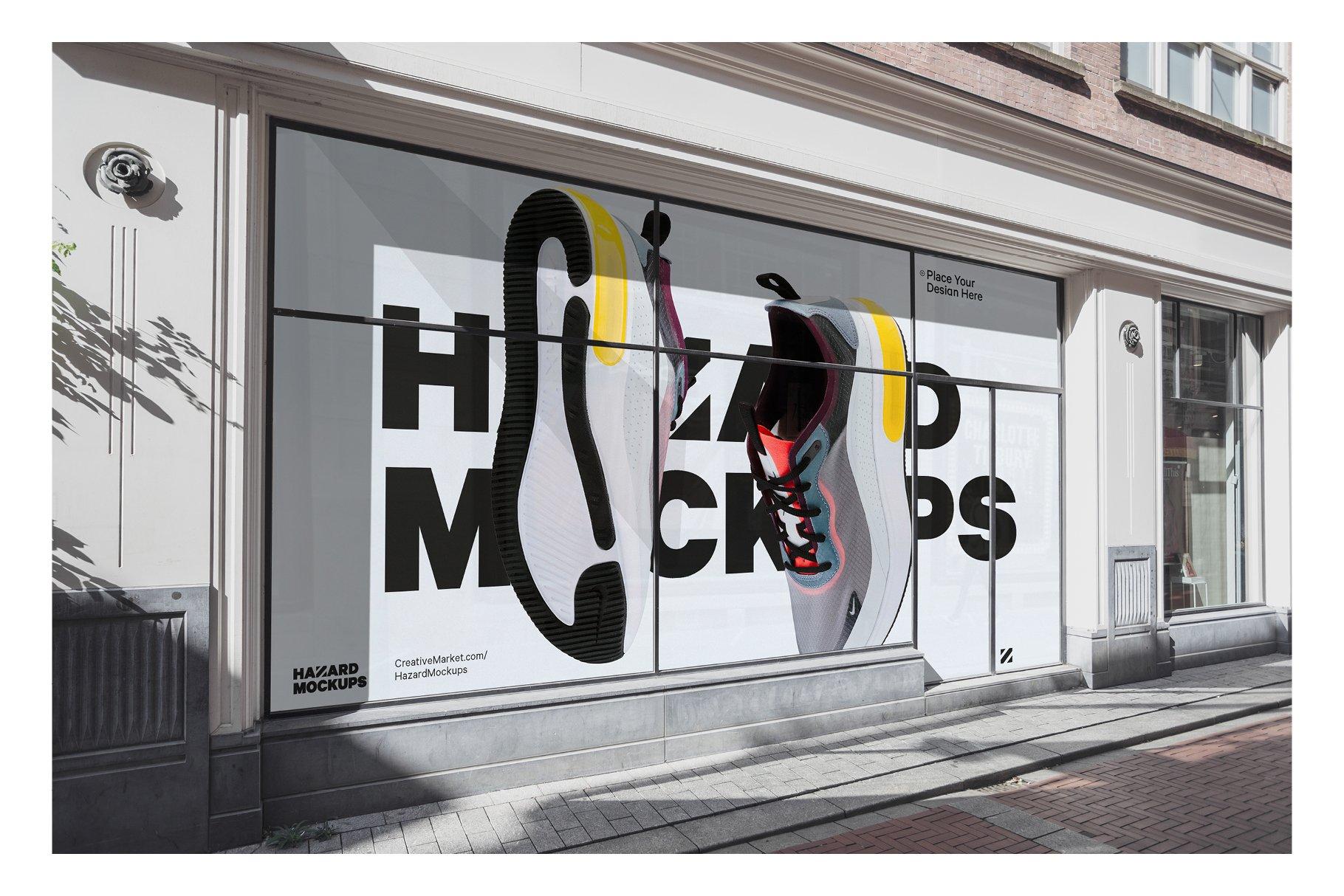 时尚街头店铺外里面橱窗玻璃贴纸广告海报设计展示样机 Shop Facade Mockup Bundle插图8