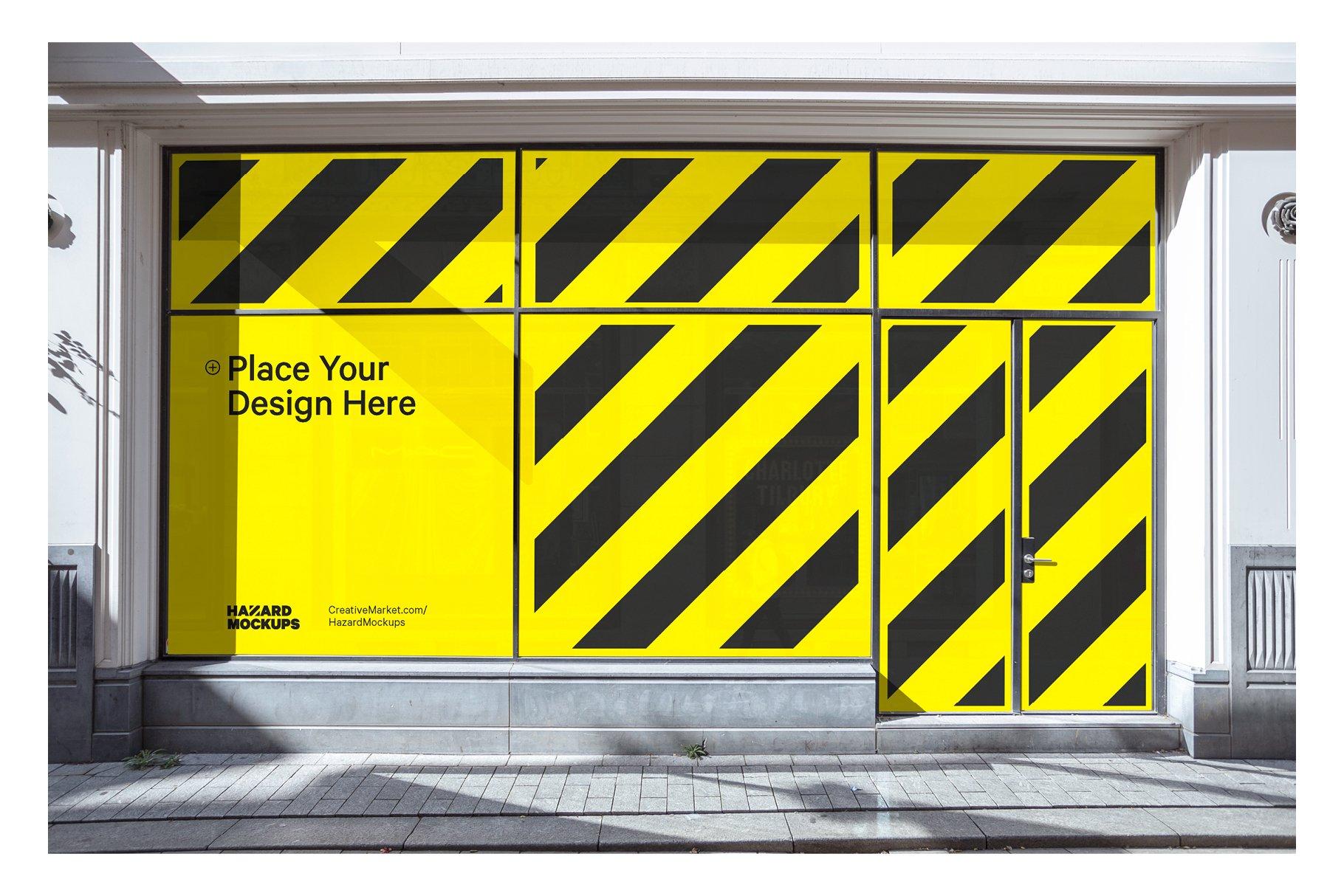 时尚街头店铺外里面橱窗玻璃贴纸广告海报设计展示样机 Shop Facade Mockup Bundle插图9