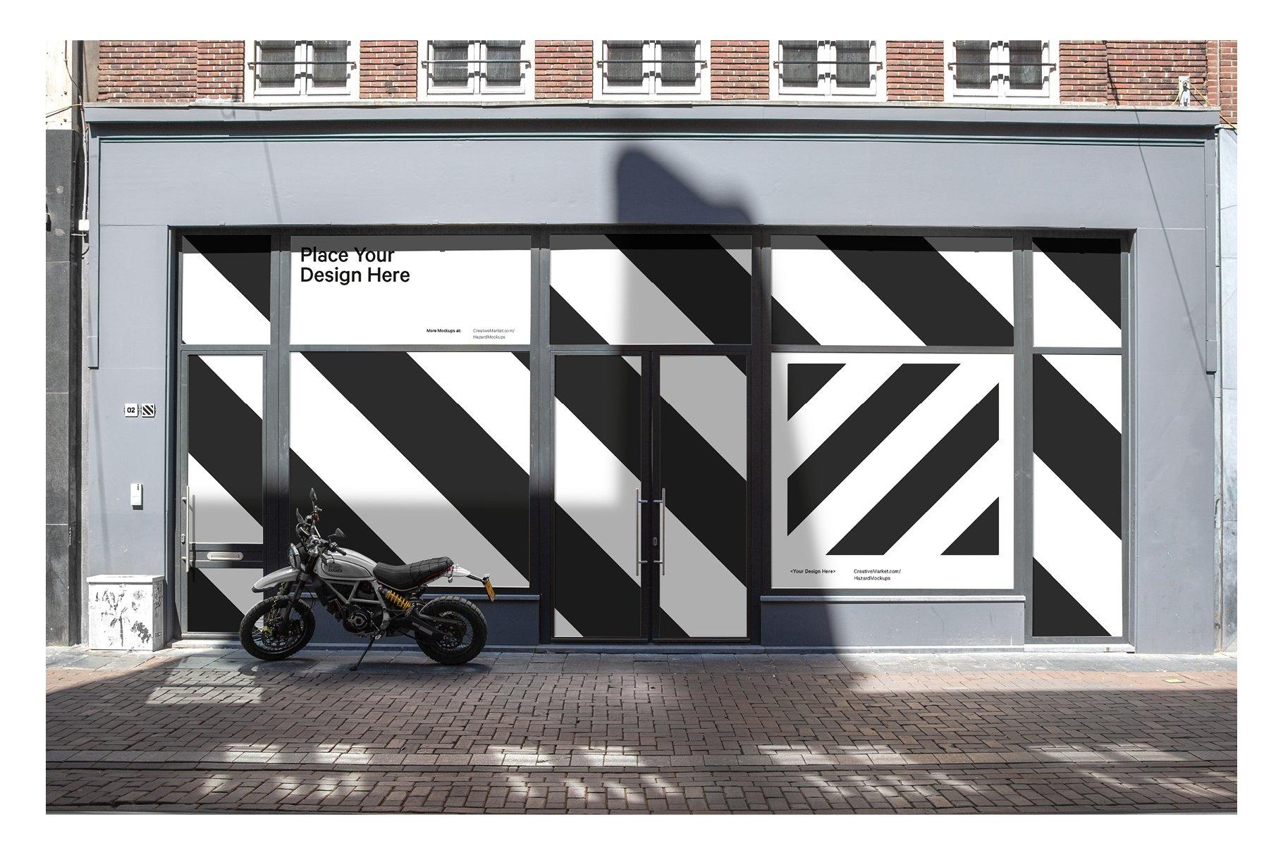 时尚街头店铺外里面橱窗玻璃贴纸广告海报设计展示样机 Shop Facade Mockup Bundle插图11