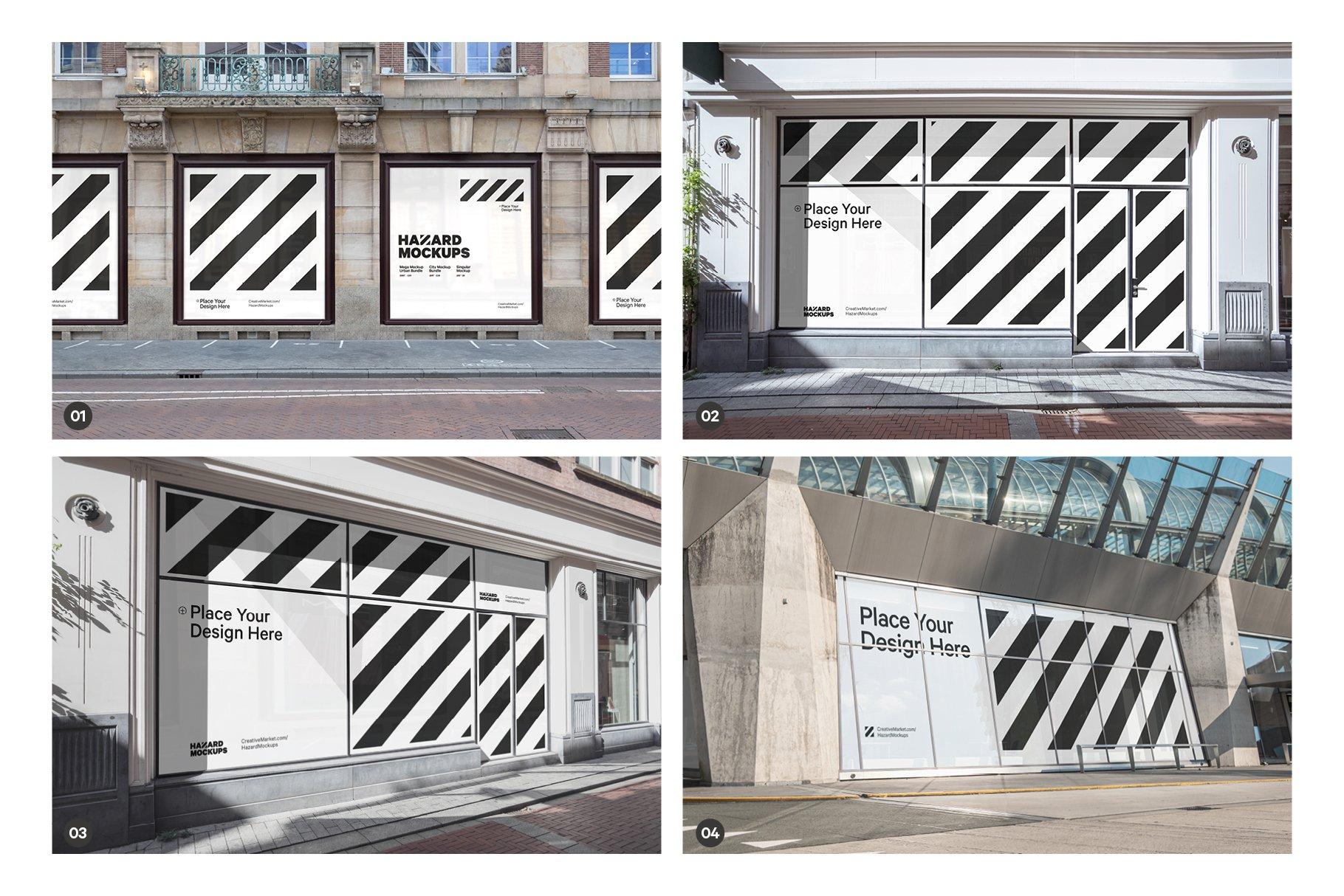 时尚街头店铺外里面橱窗玻璃贴纸广告海报设计展示样机 Shop Facade Mockup Bundle插图1