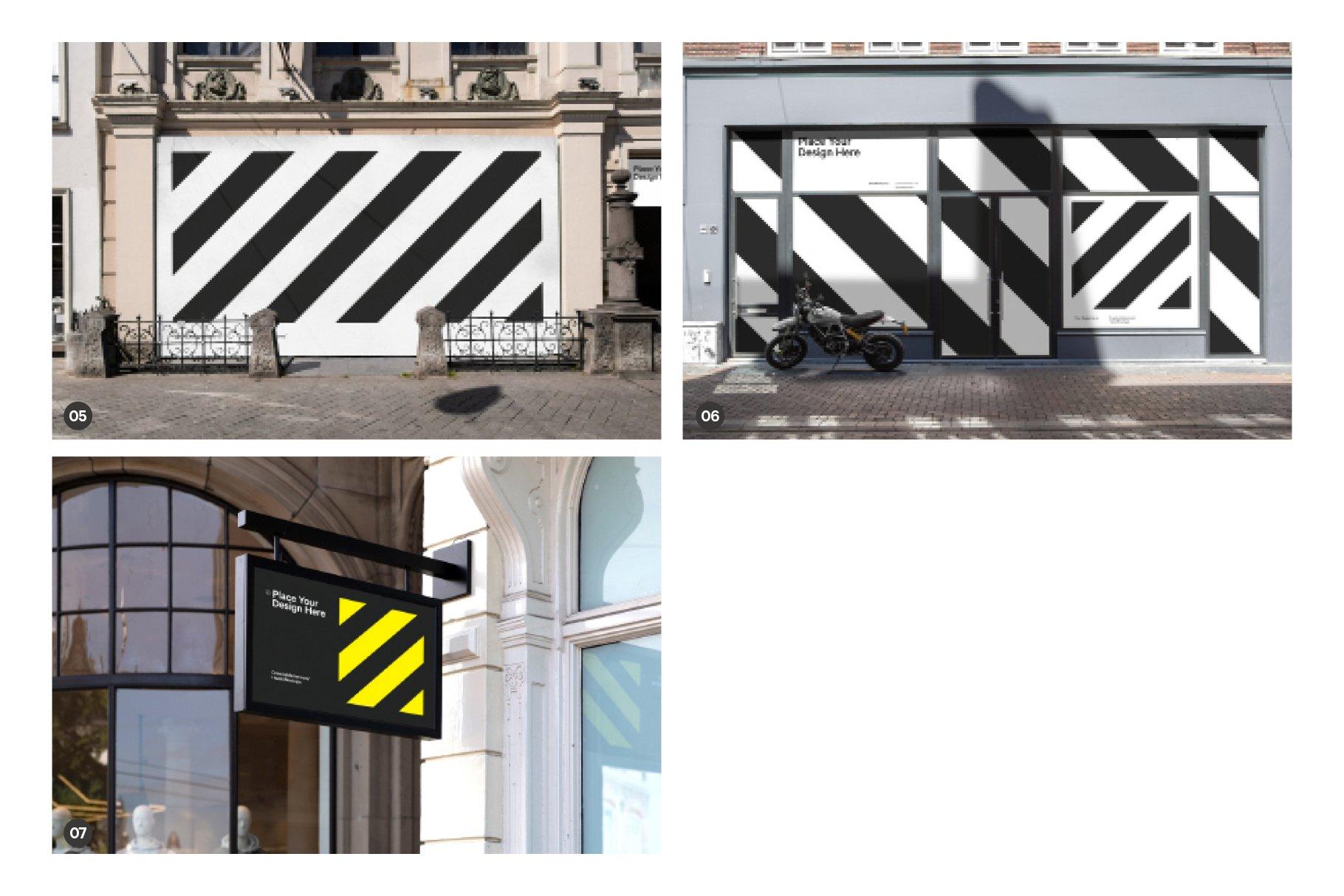 时尚街头店铺外里面橱窗玻璃贴纸广告海报设计展示样机 Shop Facade Mockup Bundle插图2