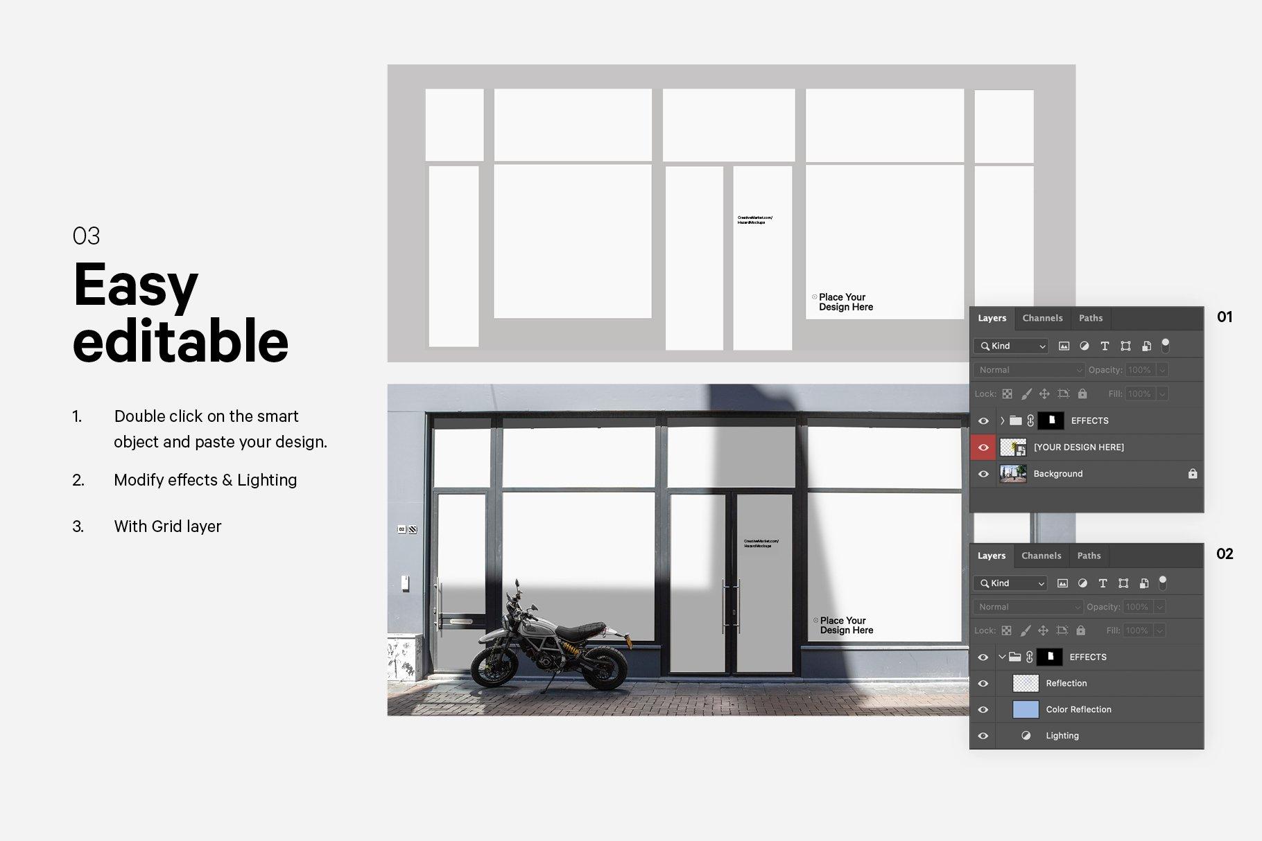 时尚街头店铺外里面橱窗玻璃贴纸广告海报设计展示样机 Shop Facade Mockup Bundle插图4