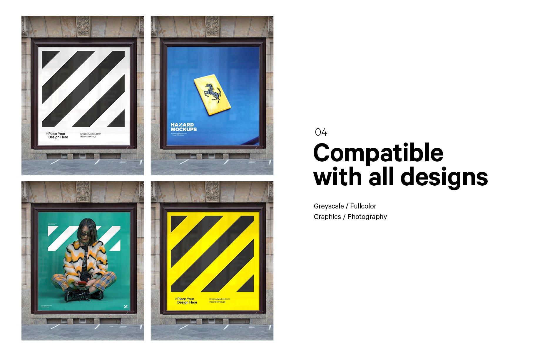 时尚街头店铺外里面橱窗玻璃贴纸广告海报设计展示样机 Shop Facade Mockup Bundle插图5