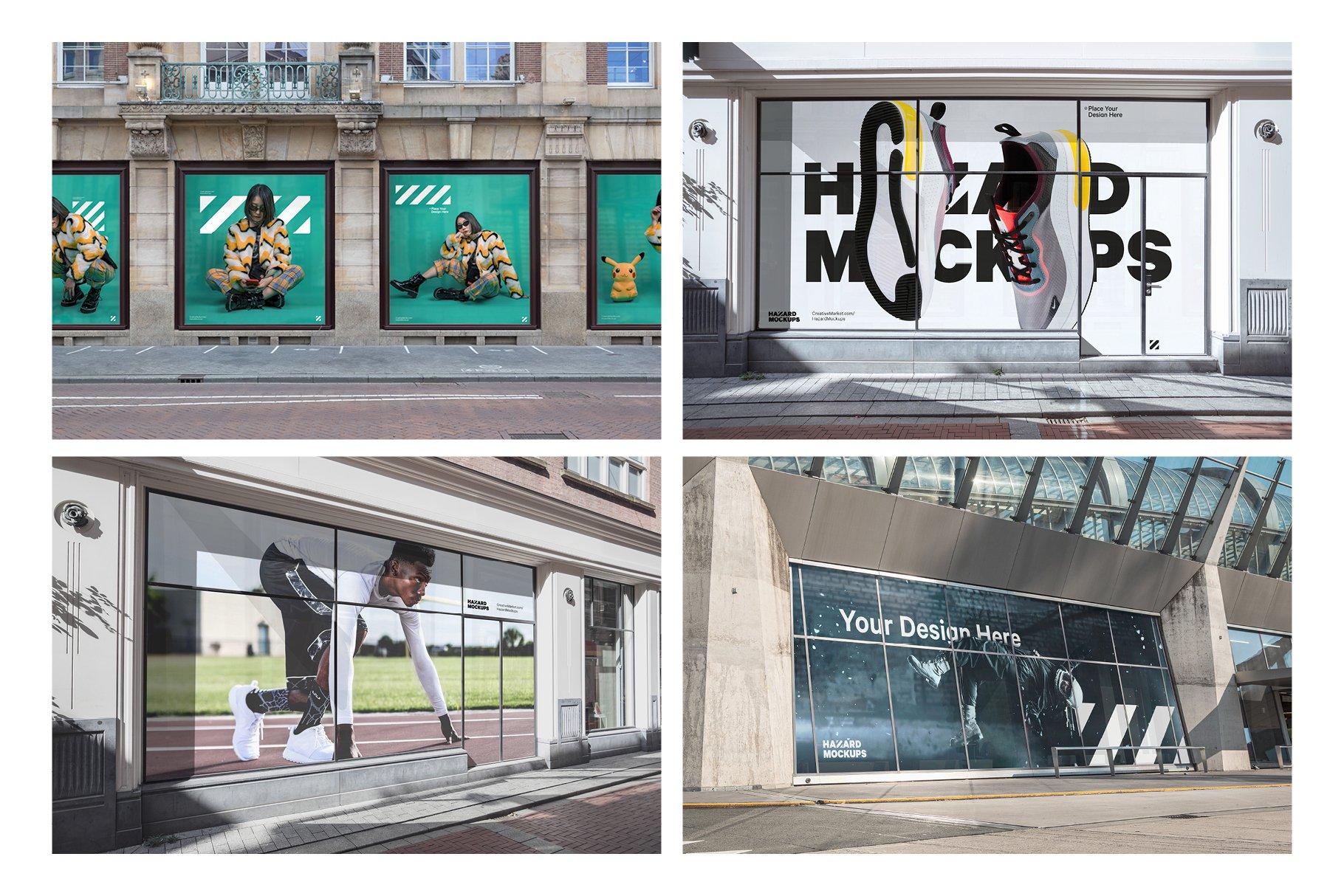 时尚街头店铺外里面橱窗玻璃贴纸广告海报设计展示样机 Shop Facade Mockup Bundle插图6