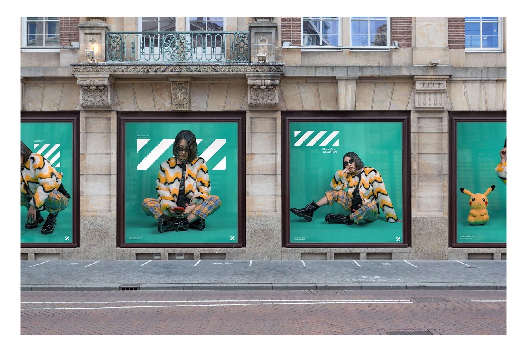 时尚街头店铺外里面橱窗玻璃贴纸广告海报设计展示样机 Shop Facade Mockup Bundle插图7