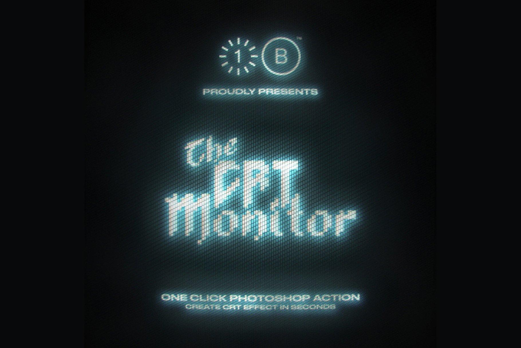 [单独购买] 潮流像素点霓虹CRT显示效果文字图形设计一键式PS动作模板 The CRT Monitor – One Click插图