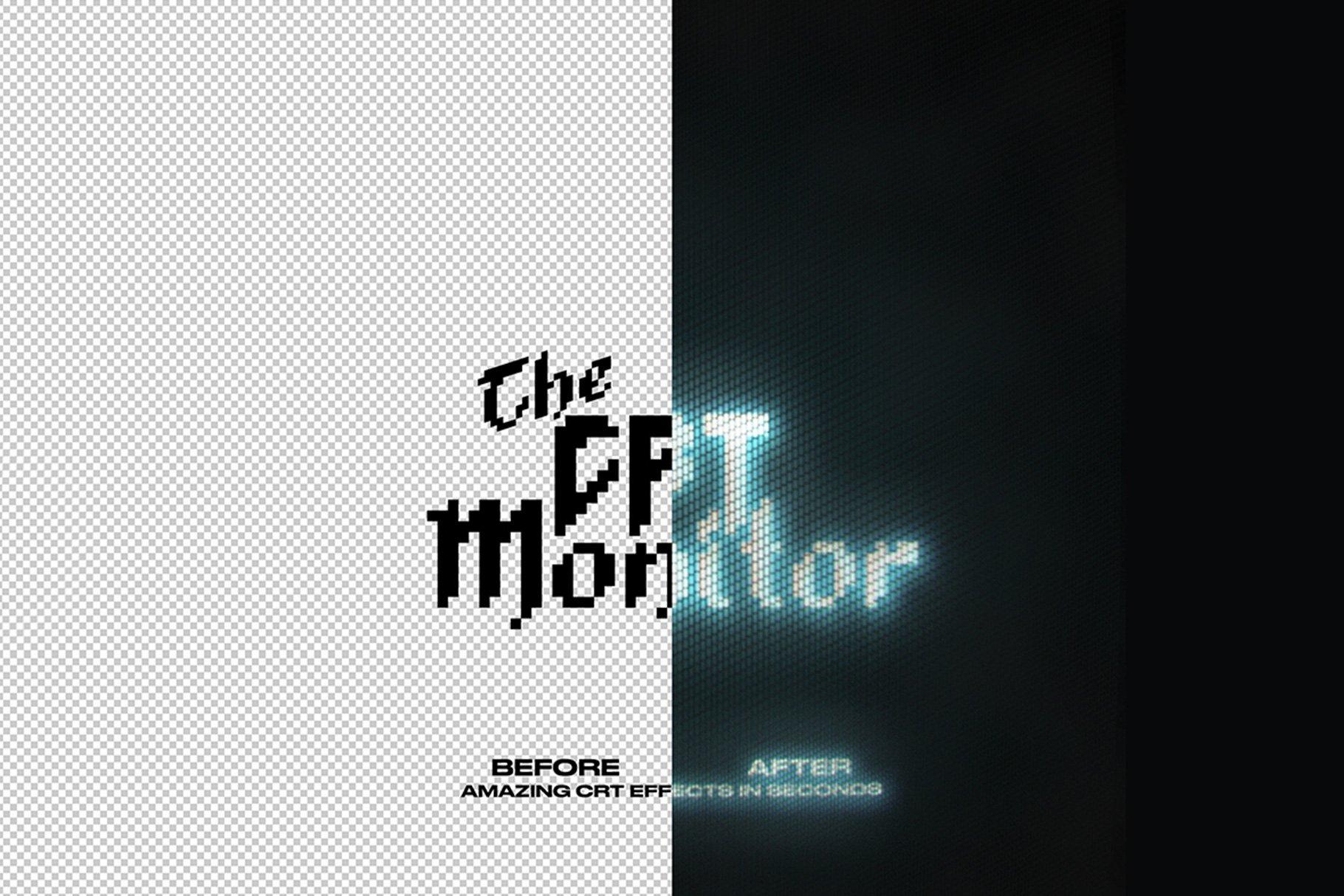 [单独购买] 潮流像素点霓虹CRT显示效果文字图形设计一键式PS动作模板 The CRT Monitor – One Click插图1