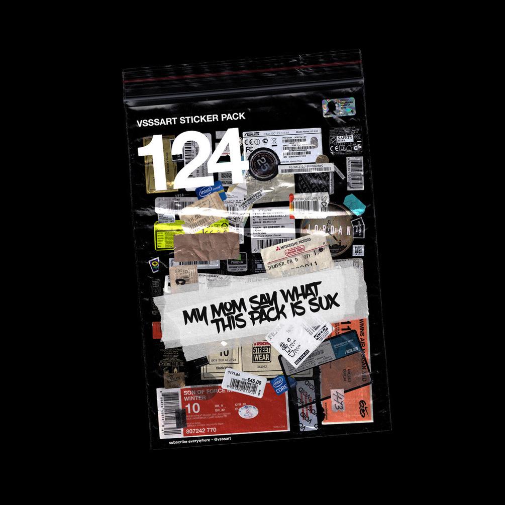 [淘宝购买] 124款潮流复古做旧撕裂标签贴纸PNG透明底图片设计素材 VSSSART – Sticker Pack V1.0插图2