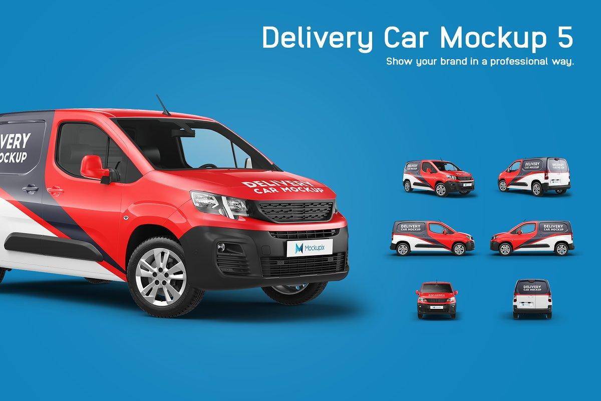 6款送货车面包车车身广告设计展示贴图样机 Delivery Car Mockup 5插图