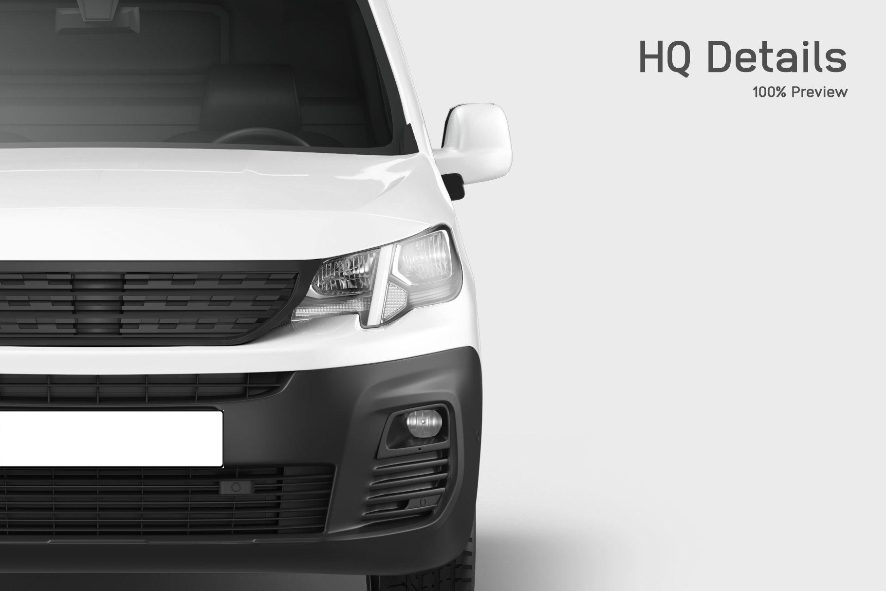 6款送货车面包车车身广告设计展示贴图样机 Delivery Car Mockup 5插图1