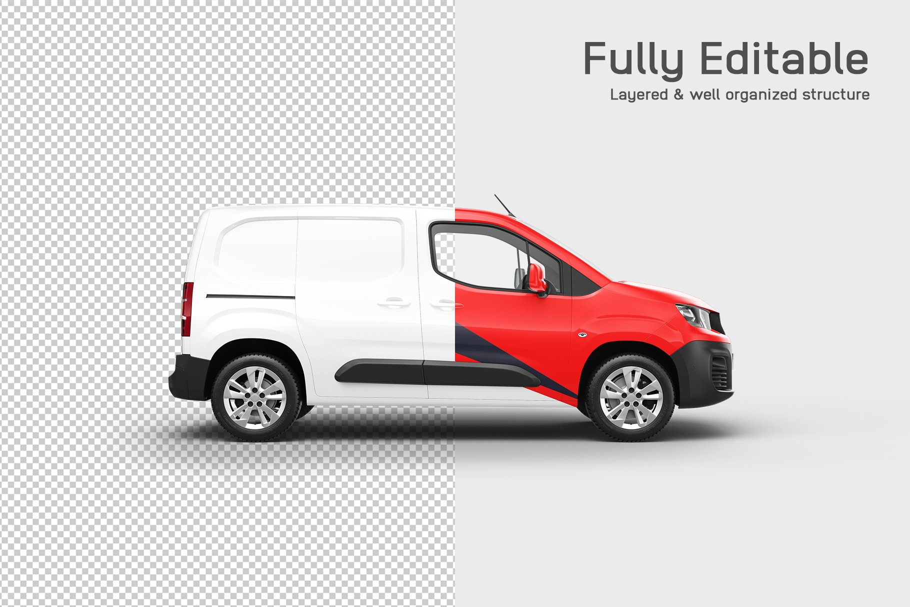 6款送货车面包车车身广告设计展示贴图样机 Delivery Car Mockup 5插图2