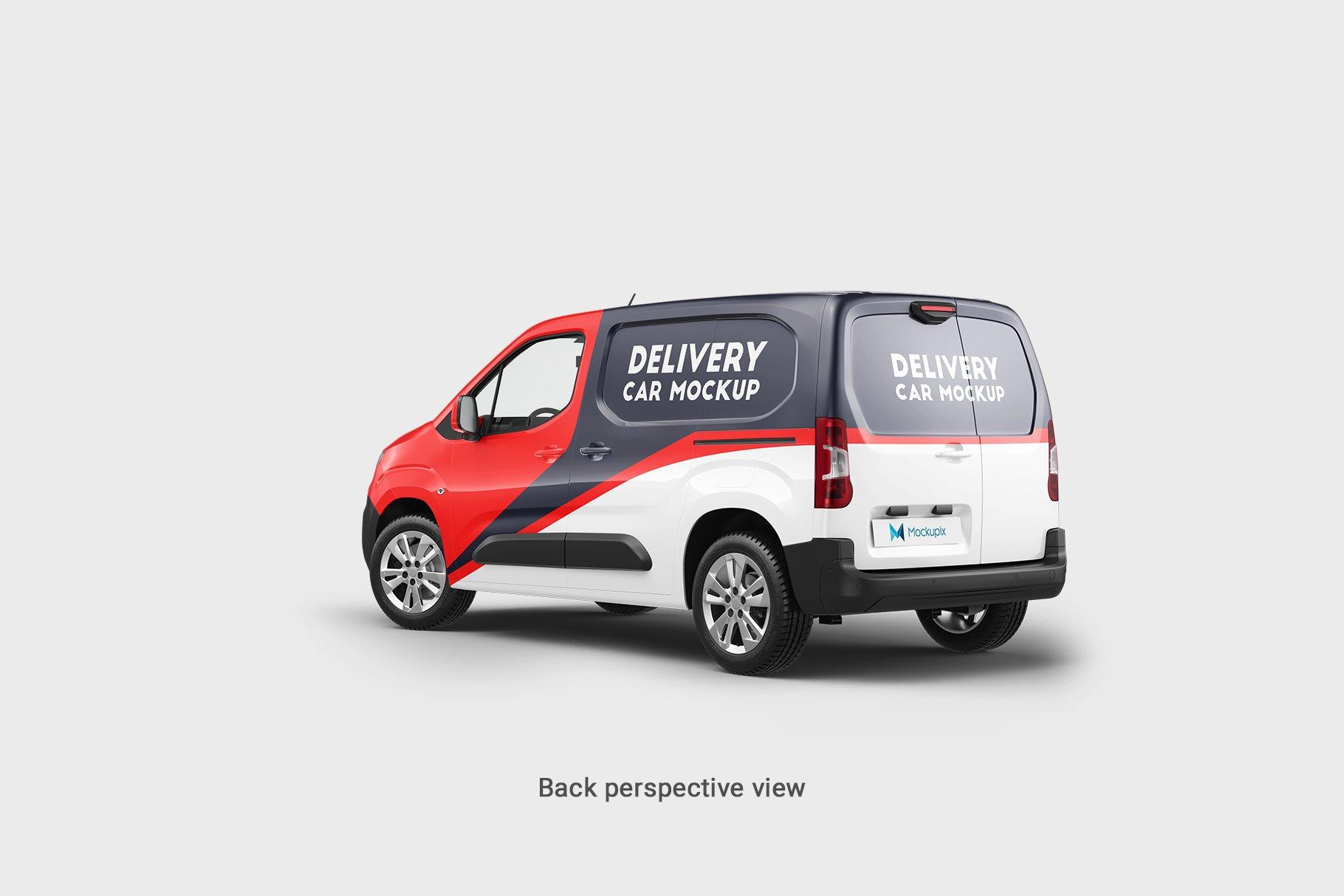 6款送货车面包车车身广告设计展示贴图样机 Delivery Car Mockup 5插图7