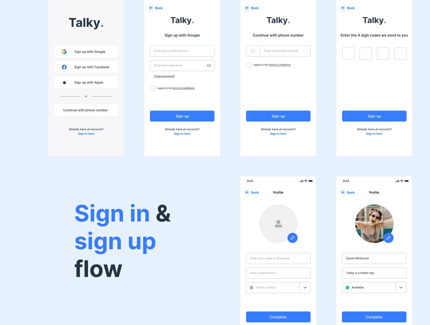 聊天交友短视频APP应用程序设计UI套件 Talky Chat & Video Messenger App插图3