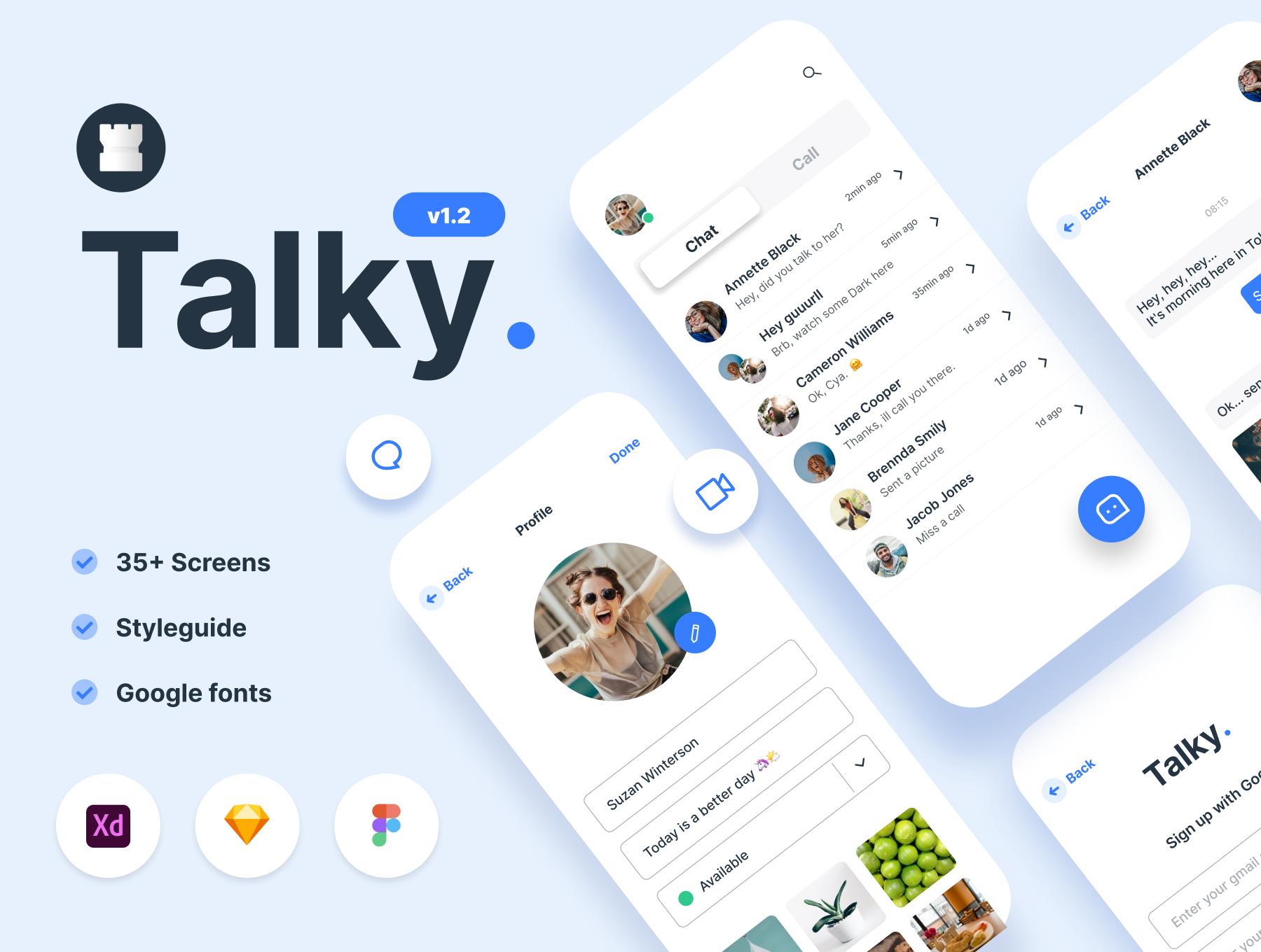 聊天交友短视频APP应用程序设计UI套件 Talky Chat & Video Messenger App插图