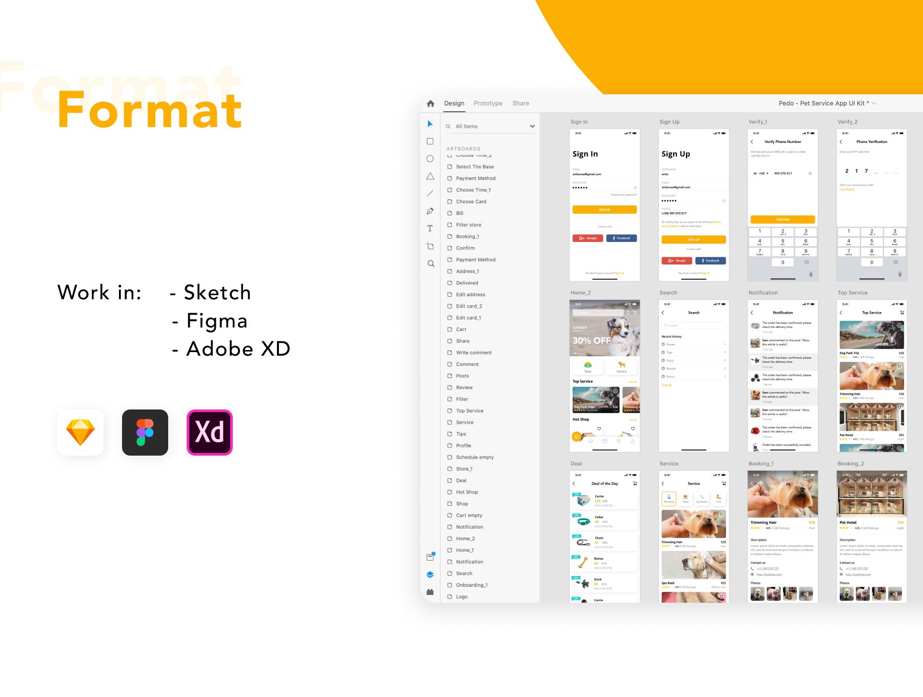 简洁宠物服务APP应用程序设计UI套件 Pedoz – Pet Service App UI Kit插图3