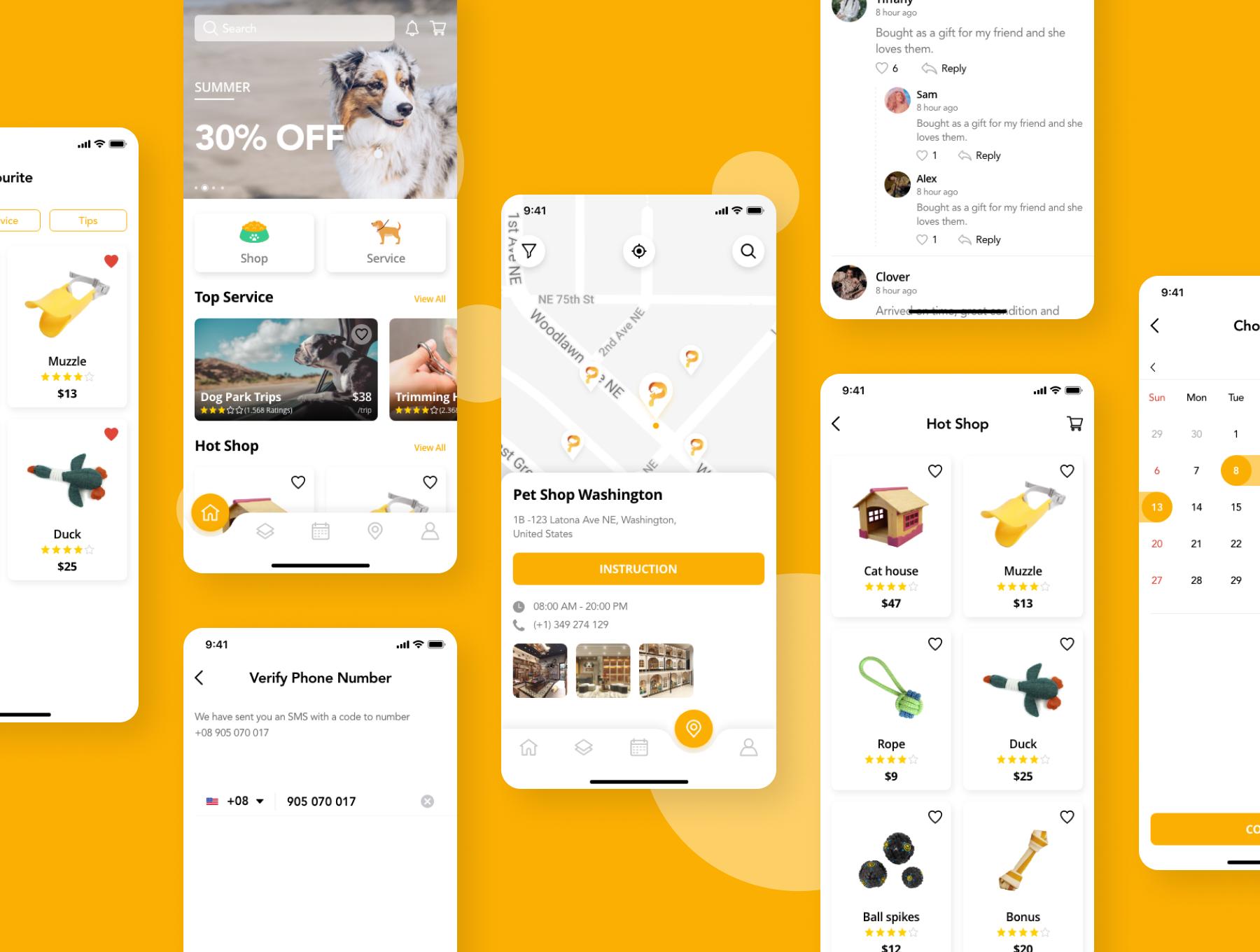 简洁宠物服务APP应用程序设计UI套件 Pedoz – Pet Service App UI Kit插图4
