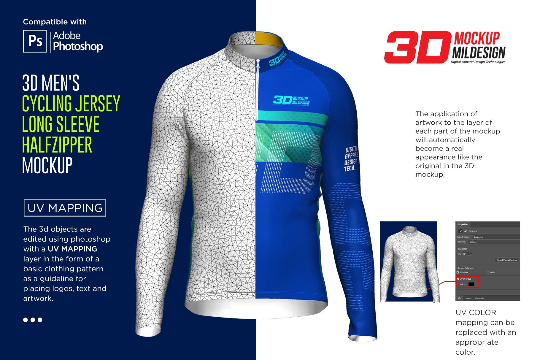 3D男士骑行服装印花图案设计展示贴图样机 3D Mens Cycling Jersey Half-zip LS插图1