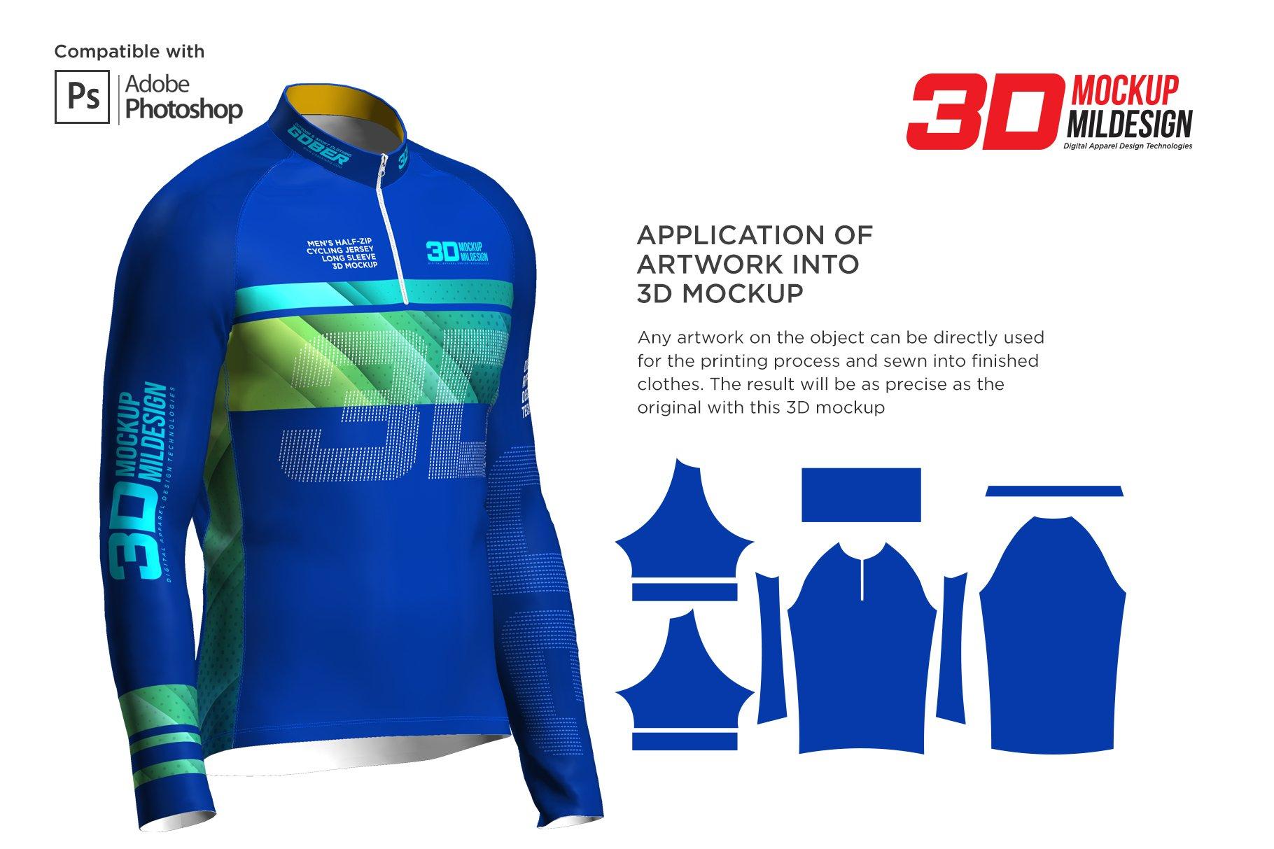 3D男士骑行服装印花图案设计展示贴图样机 3D Mens Cycling Jersey Half-zip LS插图2