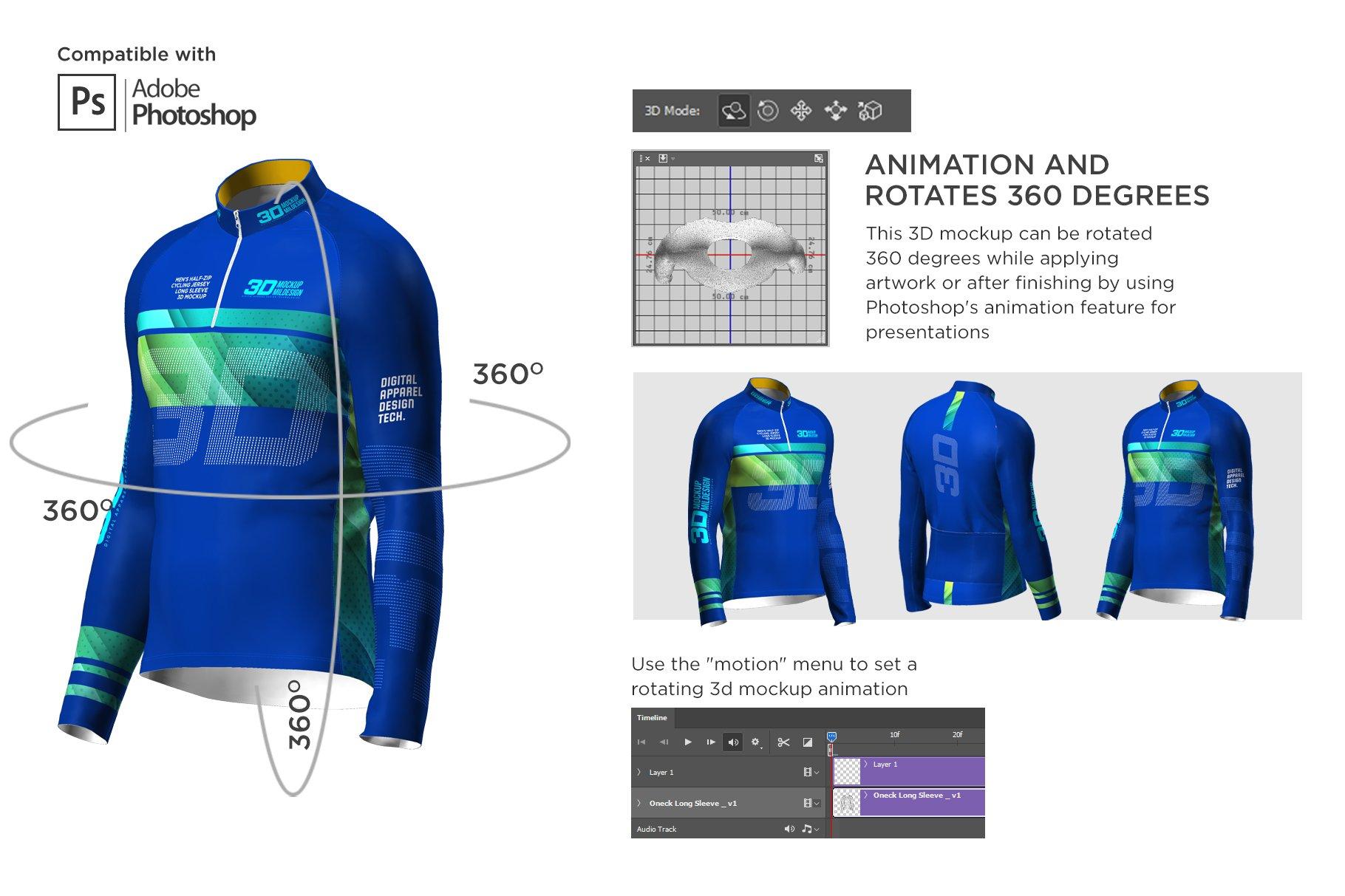 3D男士骑行服装印花图案设计展示贴图样机 3D Mens Cycling Jersey Half-zip LS插图3